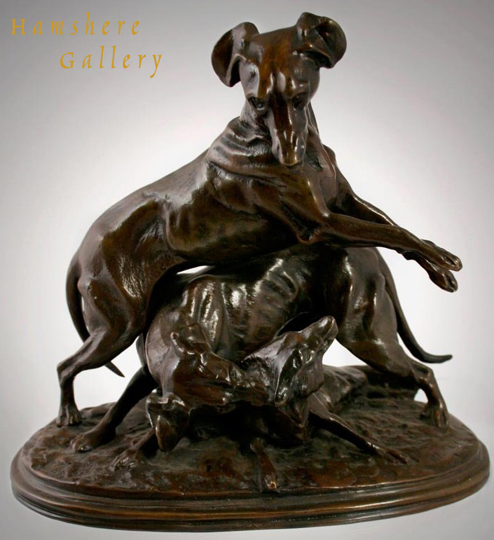 Click to see full size:  Italian Greyhound / Whippet Bronze manner of Pierre-Jules Mene
