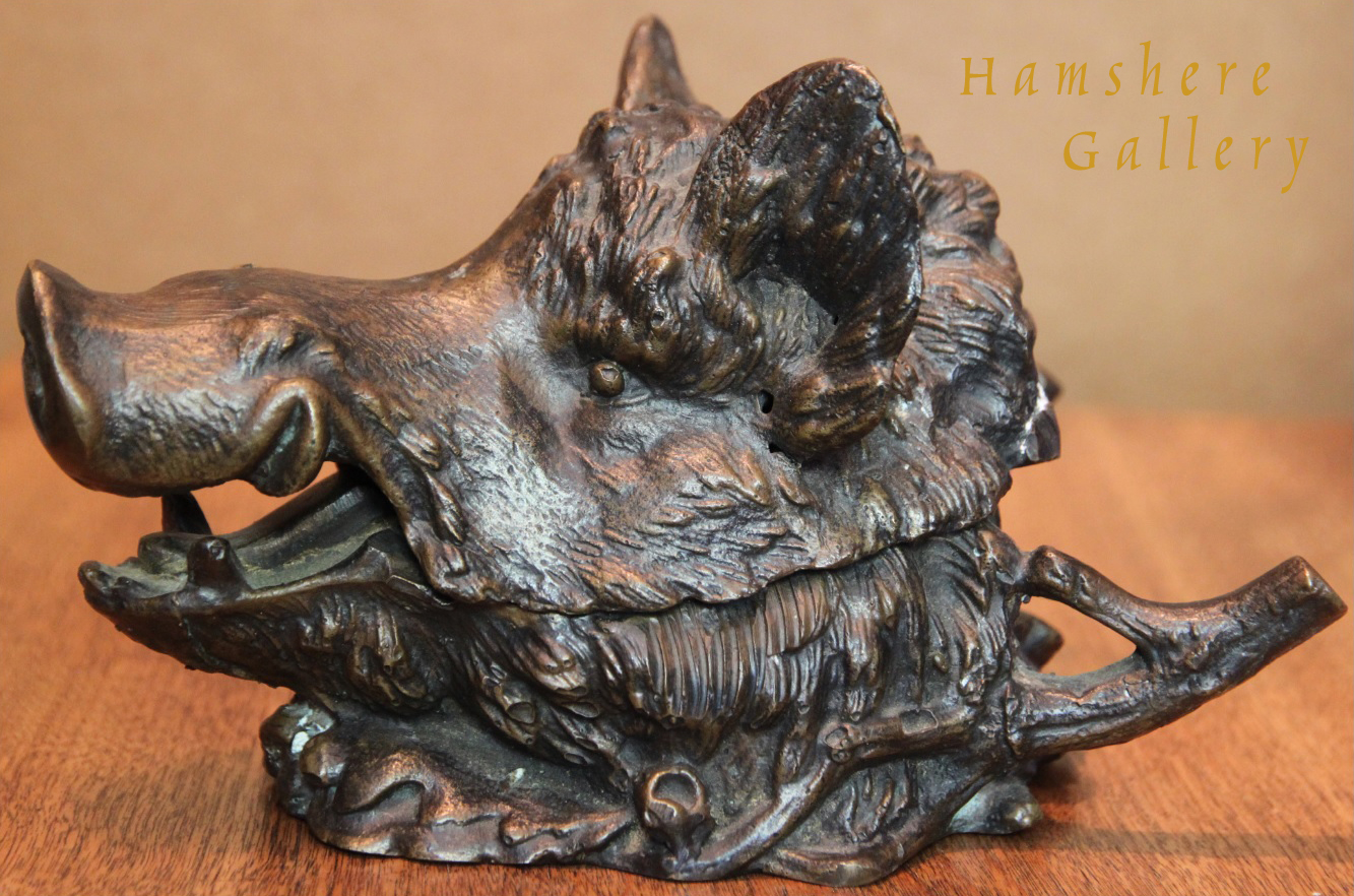 Click to see full size: A fine quality boars head inkwell by Christophe Fratin - A fine quality boars head inkwell by Christophe Fratin
