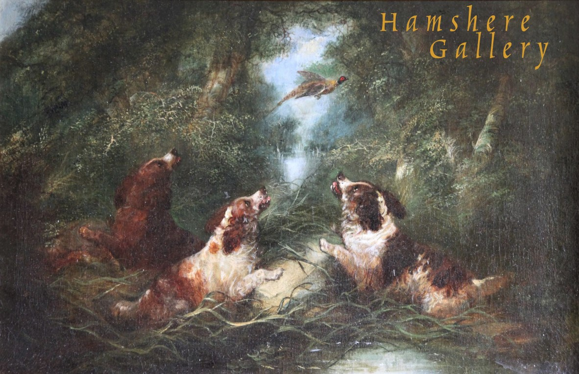 Click to see full size: An oil of three Spaniels setting a pheasant by George Armfield Smith- An oil of three Spaniels setting a pheasant by George Armfield Smith