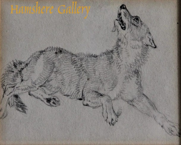 """Click to see full size:    """"The Wolf"""" a pencil study by Sir Edwin Henry Landseer R.A.- <br /> """"The Wolf"""" a pencil study by Sir Edwin Henry Landseer R.A."""