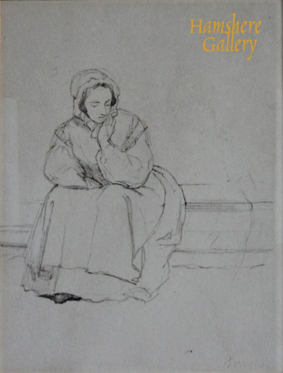 Click to see full size: A pencil study of a Bruges lady by Sir Edwin Henry Landseer R.A.