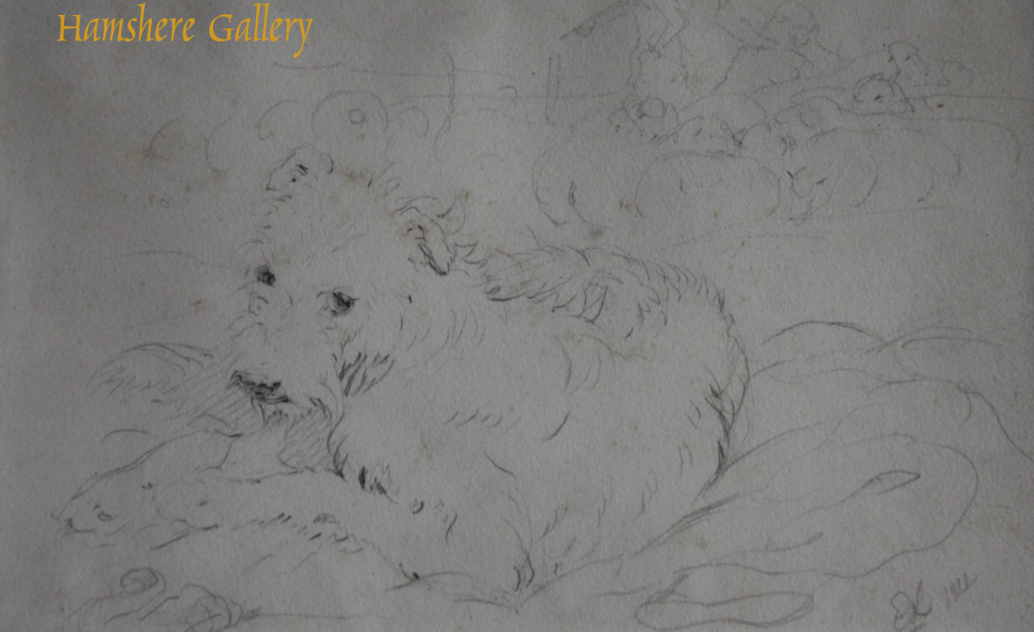 Click to see full size: English terrier pencil drawing by Sir Edwin Henry Landseer R.A.- English terrier pencil drawing by Sir Edwin Henry Landseer R.A.