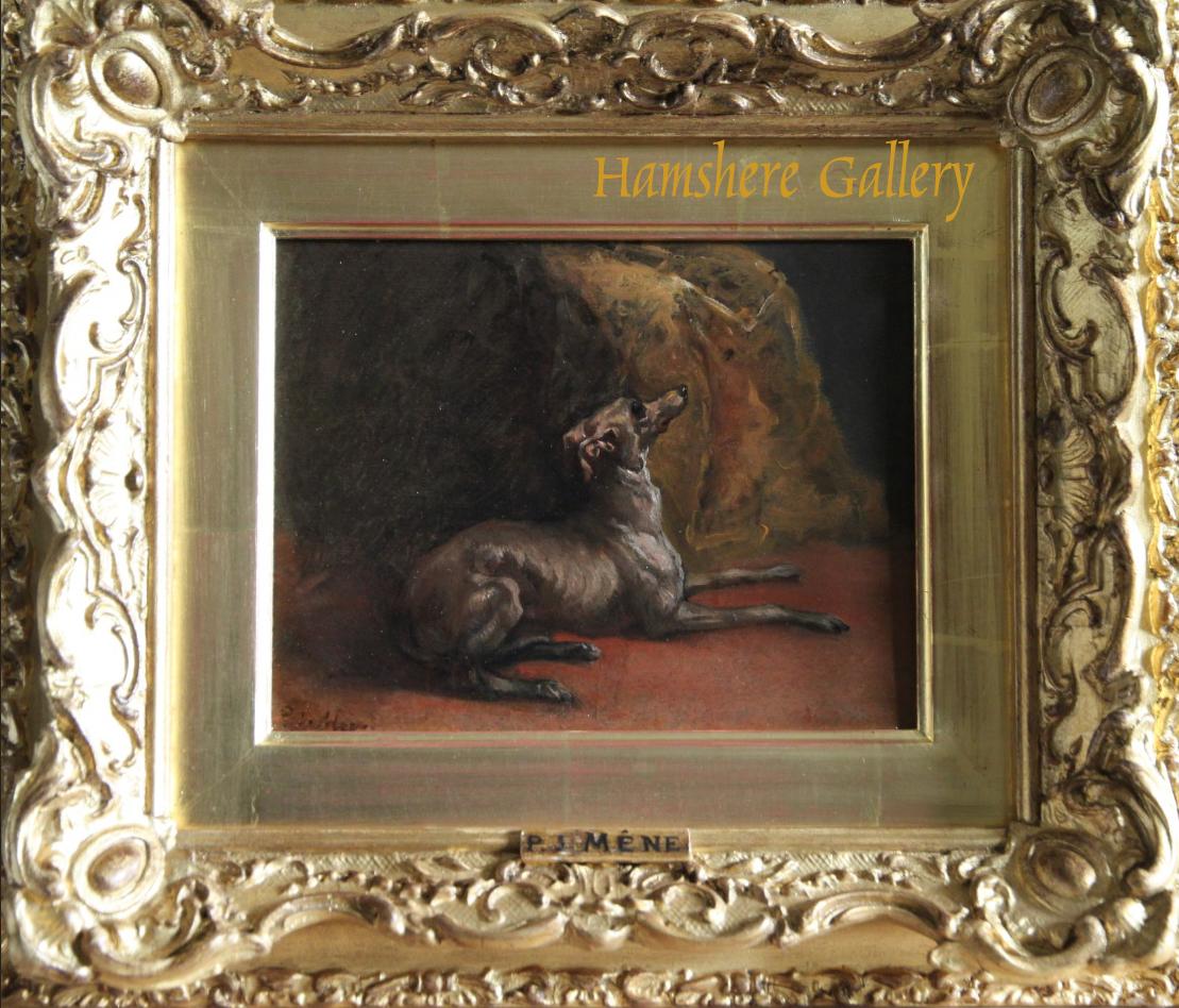 Click for larger image: Italian Greyhound oil by Pierre Jules Mene - Italian Greyhound oil by Pierre Jules Mene