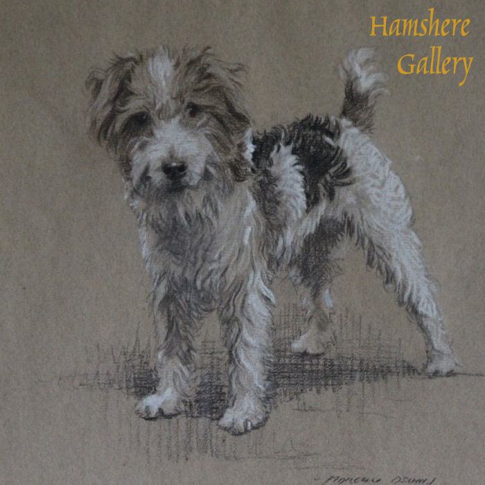 Click to see full size: Wire-haired Fox Terrier / Jack Russell pencil drawing by Morgan Dennis