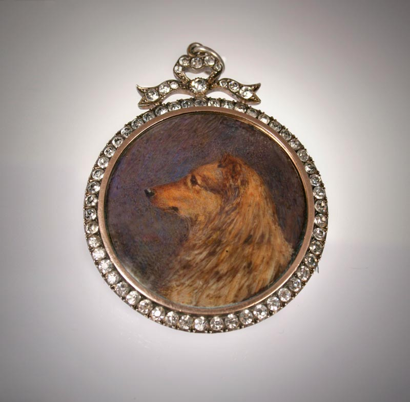 Click for larger image: Miniature on Ivory of a Collie by Edith Waltons - Miniature on Ivory of a Collie by Edith Waltons