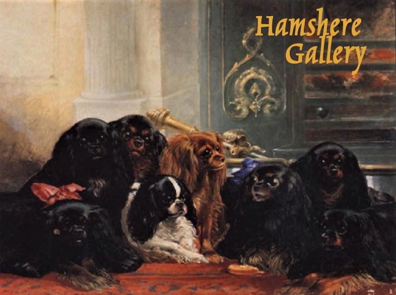 Click to see full size: An oil of a group of King Charles Cavaliers and English Toys by Samuel Bough R.S.A.