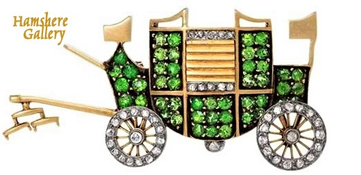 Click to see full size: A 19th century gold, diamond and demantoid coaching / carriage brooch