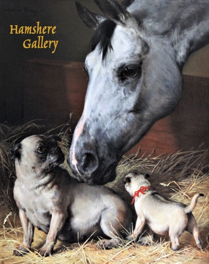 Click to see full size: An oil of a dapple grey horse and Pugs by Julius von Blaas