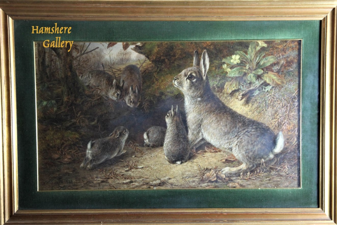 Click for larger image: Oil of a fluffle of rabbits in woodland setting by William Luker jnr., RBA - Oil of a fluffle of rabbits in woodland setting by William Luker jnr., RBA