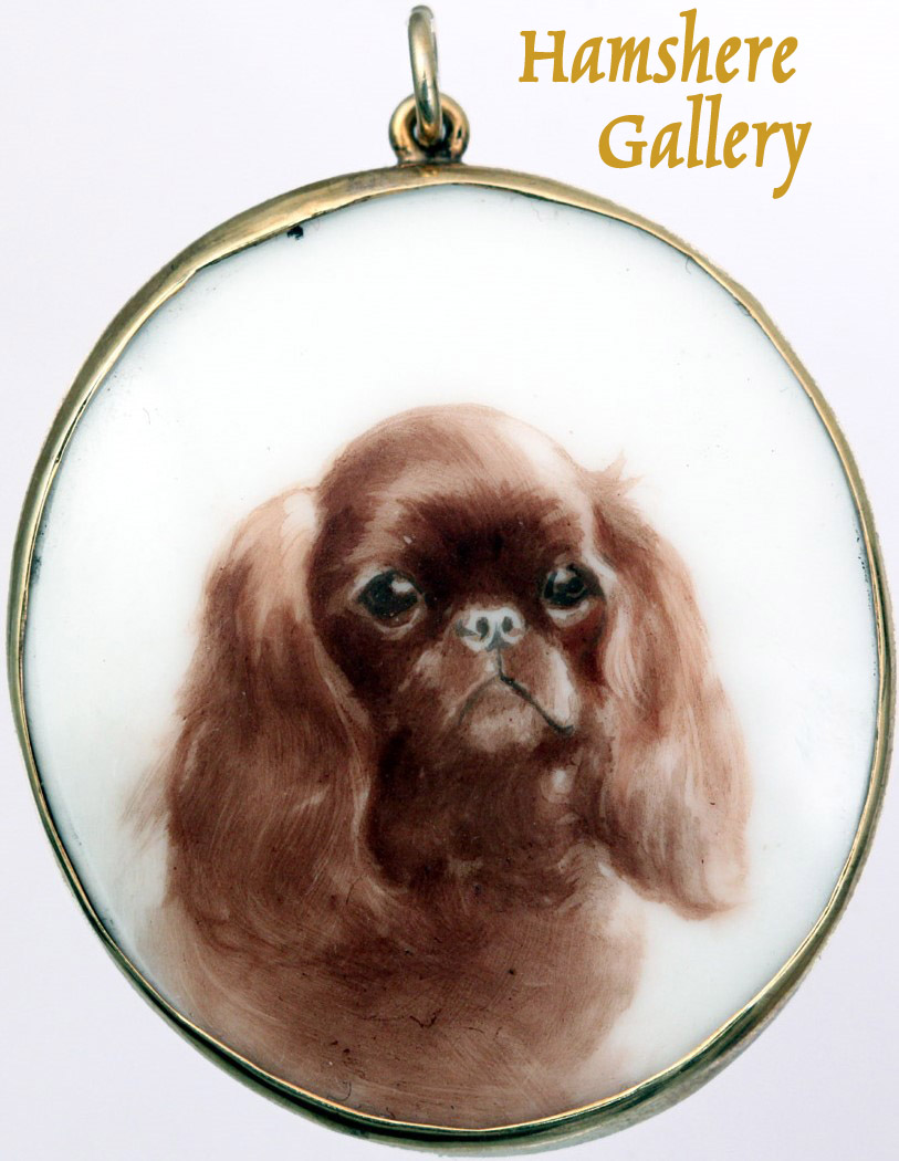 Click to see full size: Enamel on porcelain portrait miniature of a King Charles Spaniel / English Toy Spaniel by Reuben Ward Binks
