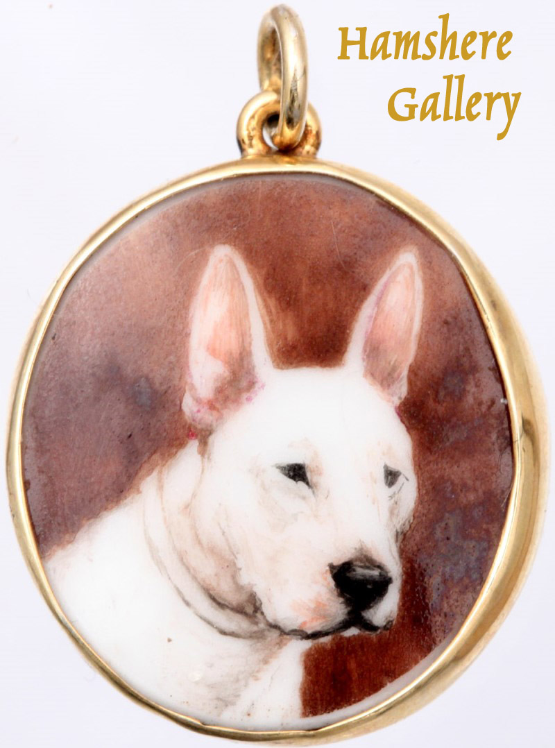 Click to see full size: Enamel on porcelain portrait miniature of a Bull Terrier by Reuben Ward Binks