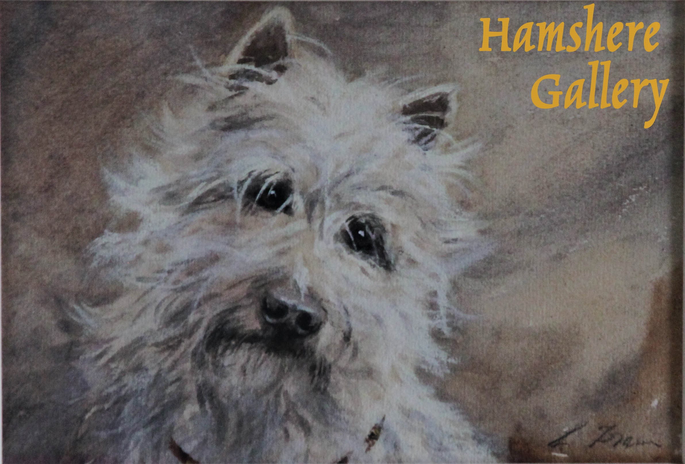 Click to see full size: Gouache of a West Highland Terrier by Lucy Dawson