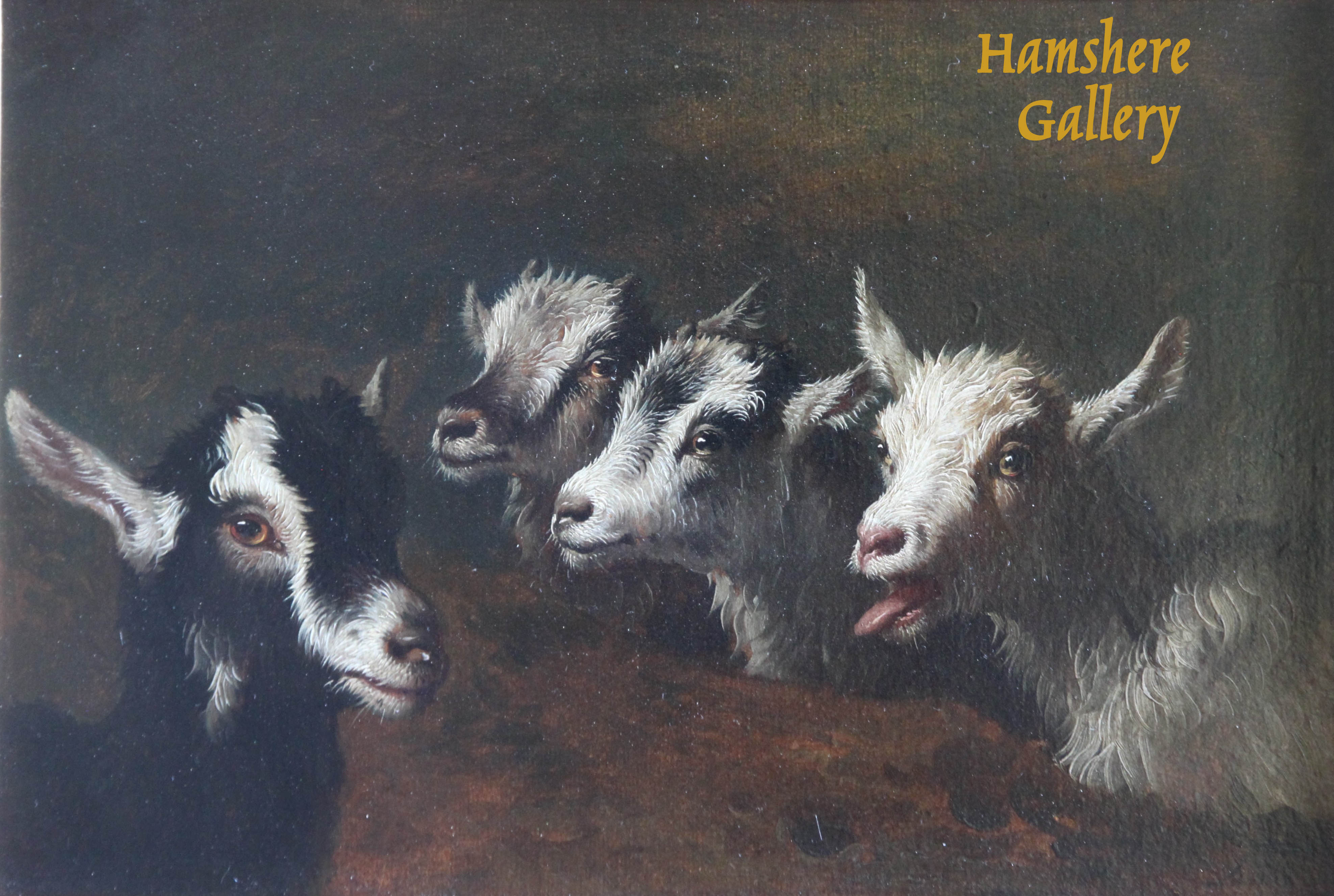 Click to see full size: A Victorian oil on panel of four goats / kids.