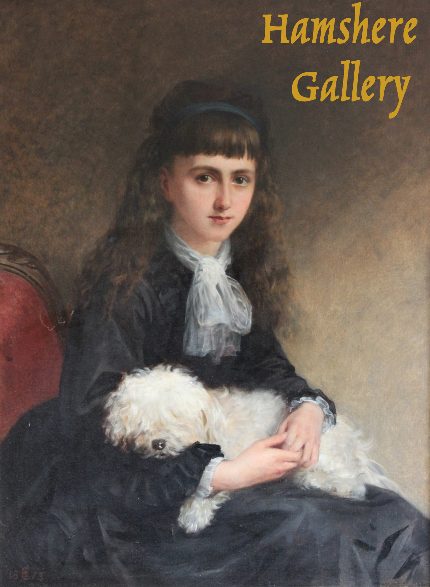 Click to see full size: An oil of a Bichon and young lady by Edwin Longsden Long RA (English, 1829 – 1891)