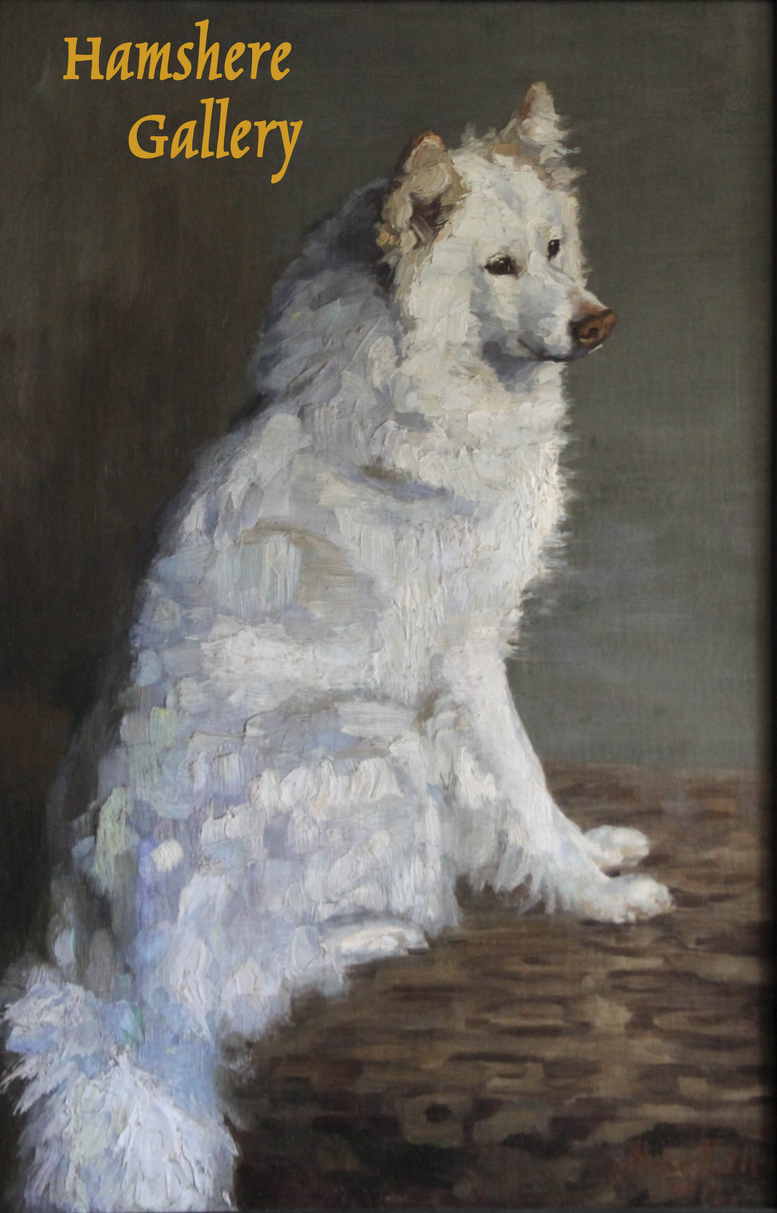 Click to see full size:   An oil of a seated Samoyed by Aline Ellis