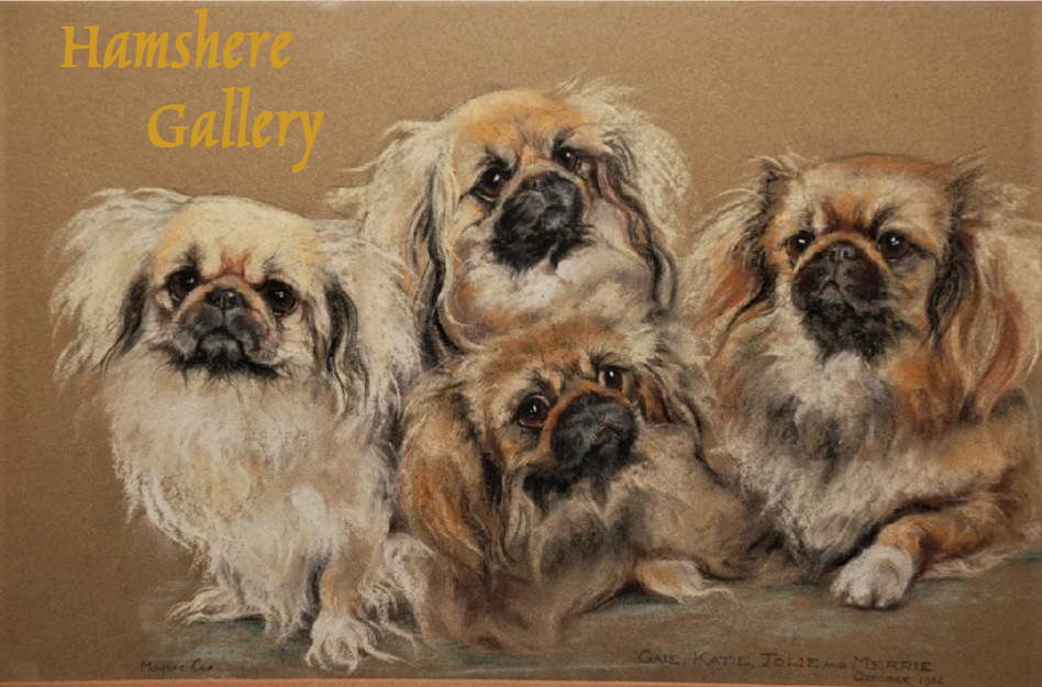"Click to see full size: Pekingese pastel of ""Gale, Katie, Jolie and Merrie"" by Marjorie Cox. (English 1915-2003)."