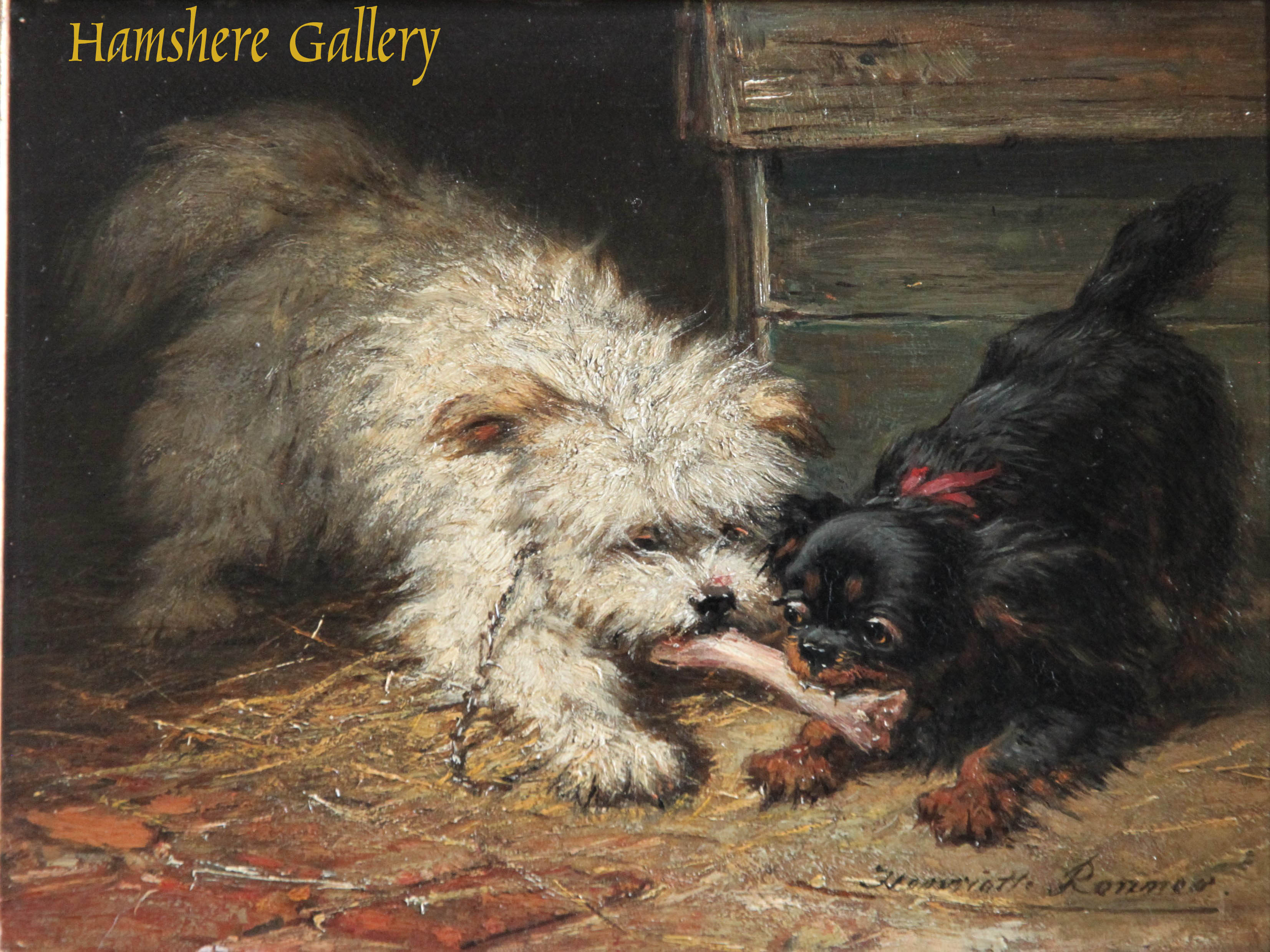 Click to see full size: At Play with Bone oil Maltese Terrier and King Charles Cavalier puppies by Henriëtte Ronner-Knip (Dutch, 1812 -1909)