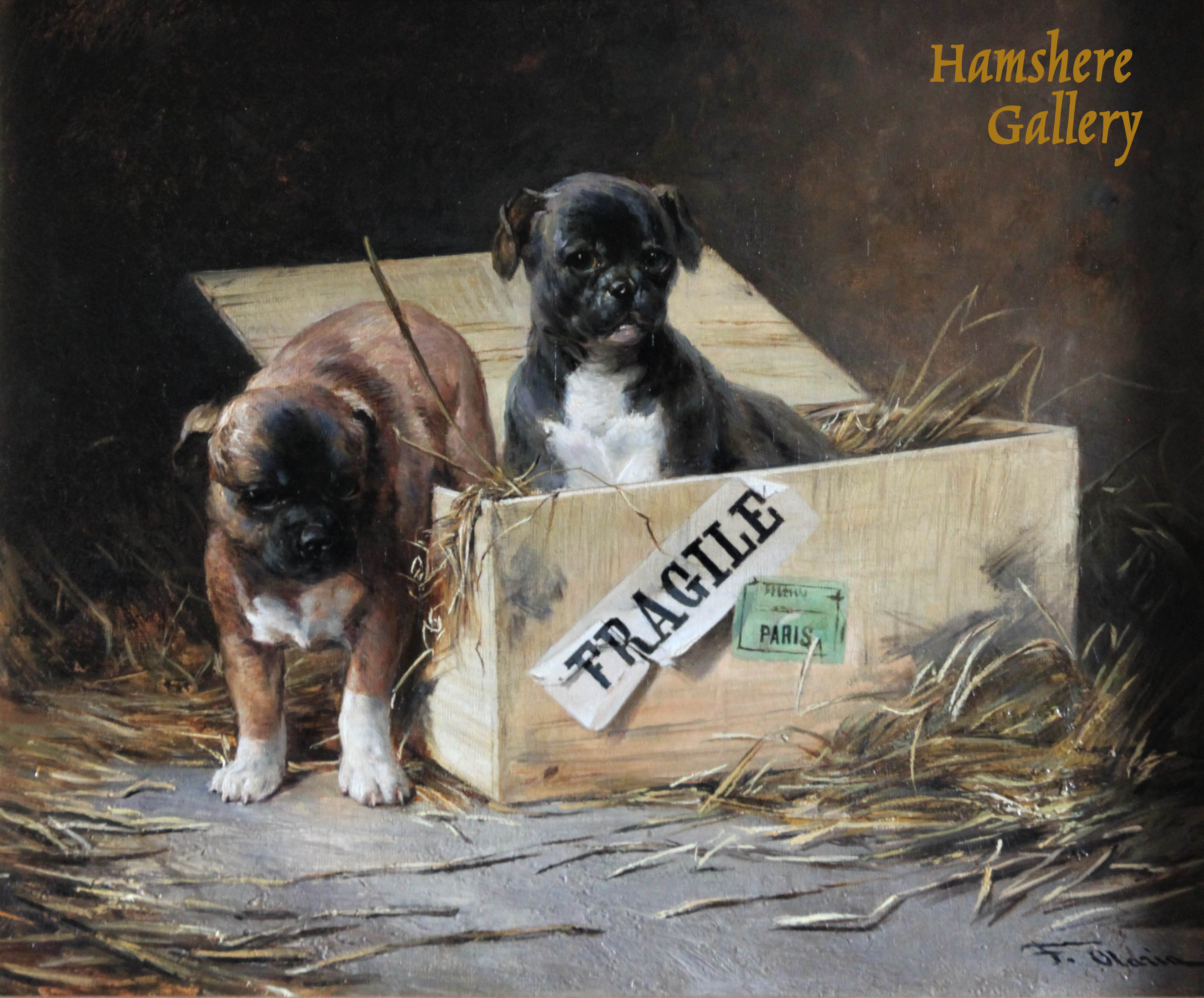 Click to see full size: Oil of Bulldog puppies by Federico Olaria Torres (Spanish, 1848–1898)