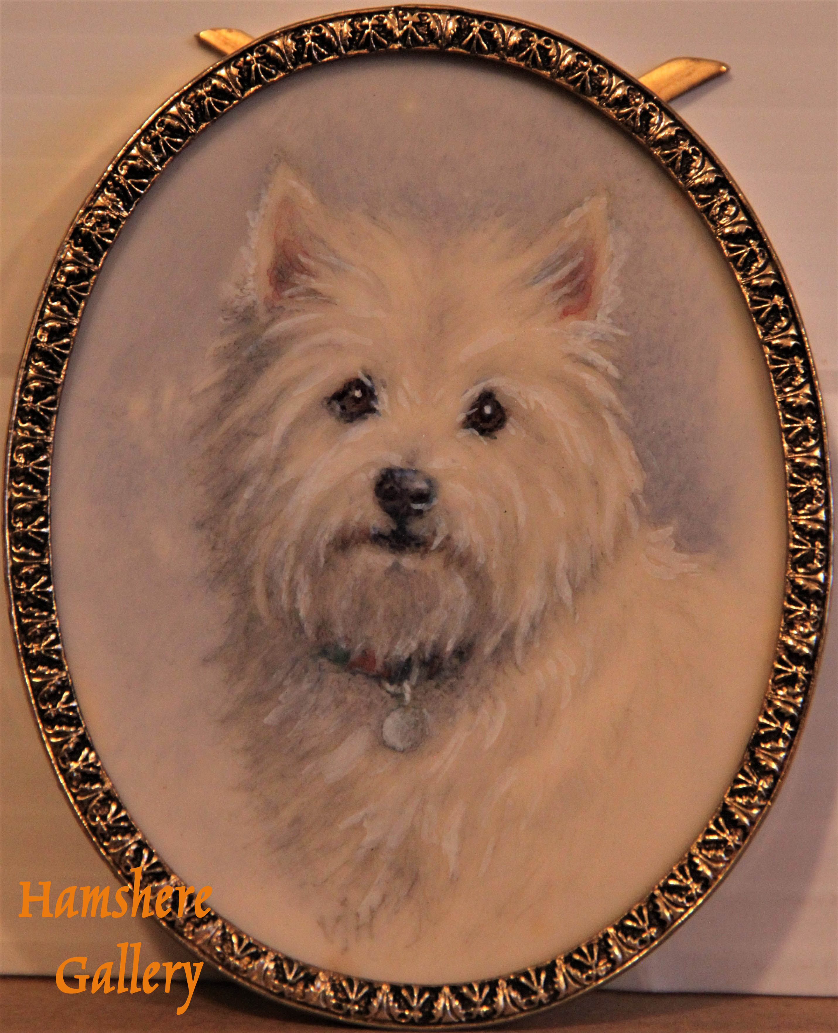 "Click to see full size: Oval ivorine miniature of ""Trudi"" a West Highland Terrier by Vera Haslam RMS (English)"