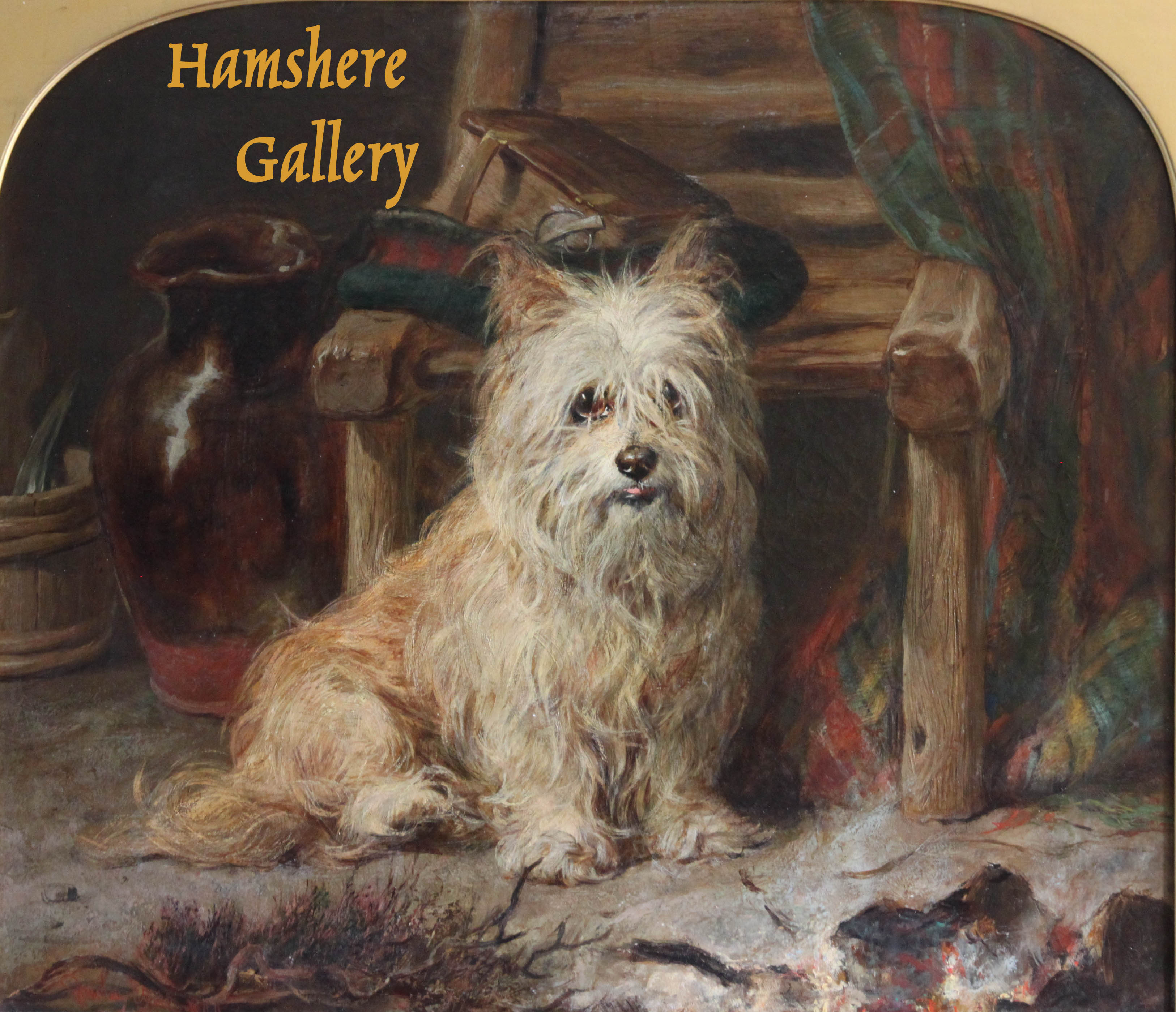 "Click to see full size: ""Pepper"" a West Highland Terrier oil by Gourlay Steell RSA (Scottish, 1819 -1894)"