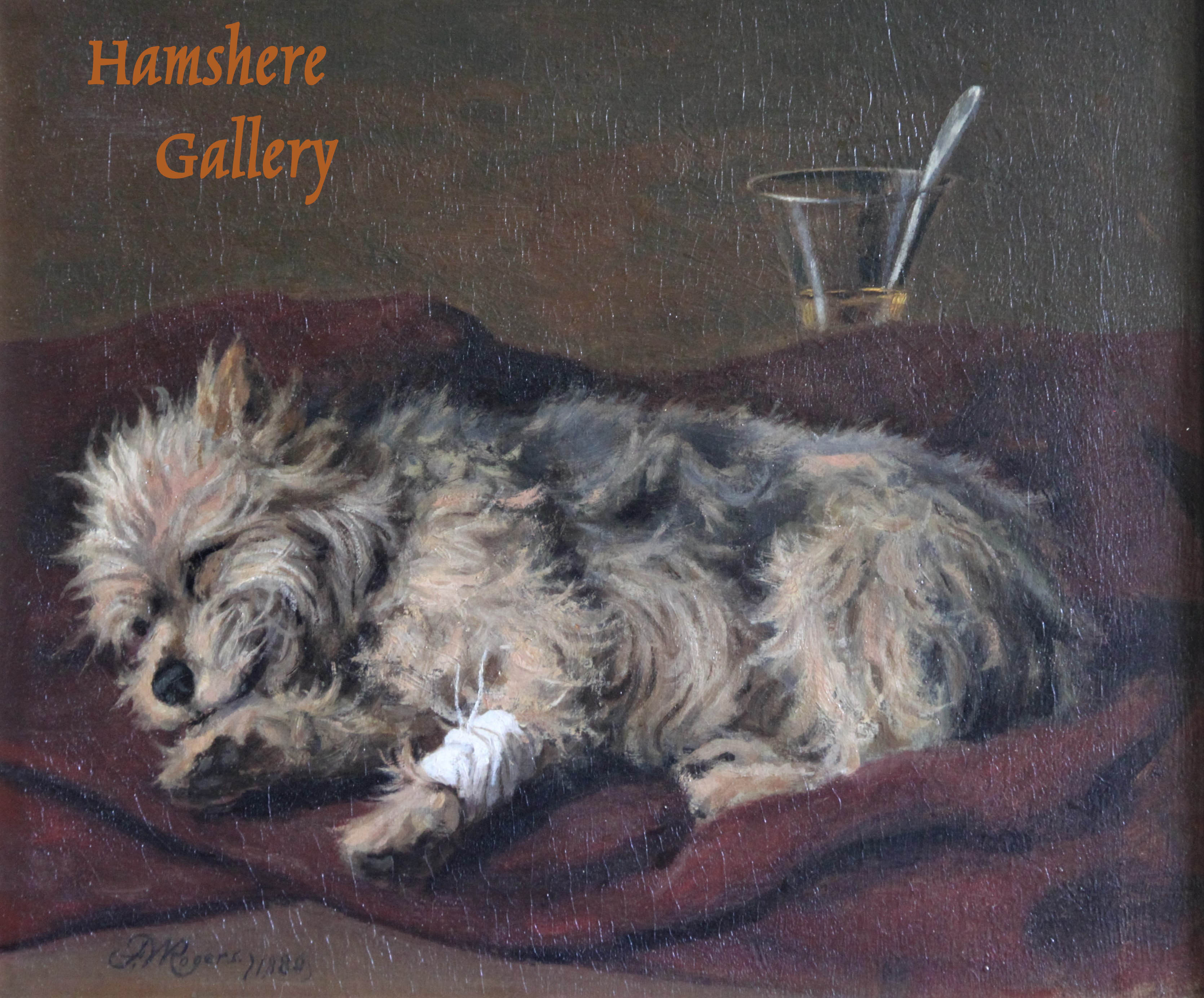 Click to see full size: A sleeping Yorkshire Terrier oil by Franklin Whiting Rogers (American, 1854-1917).