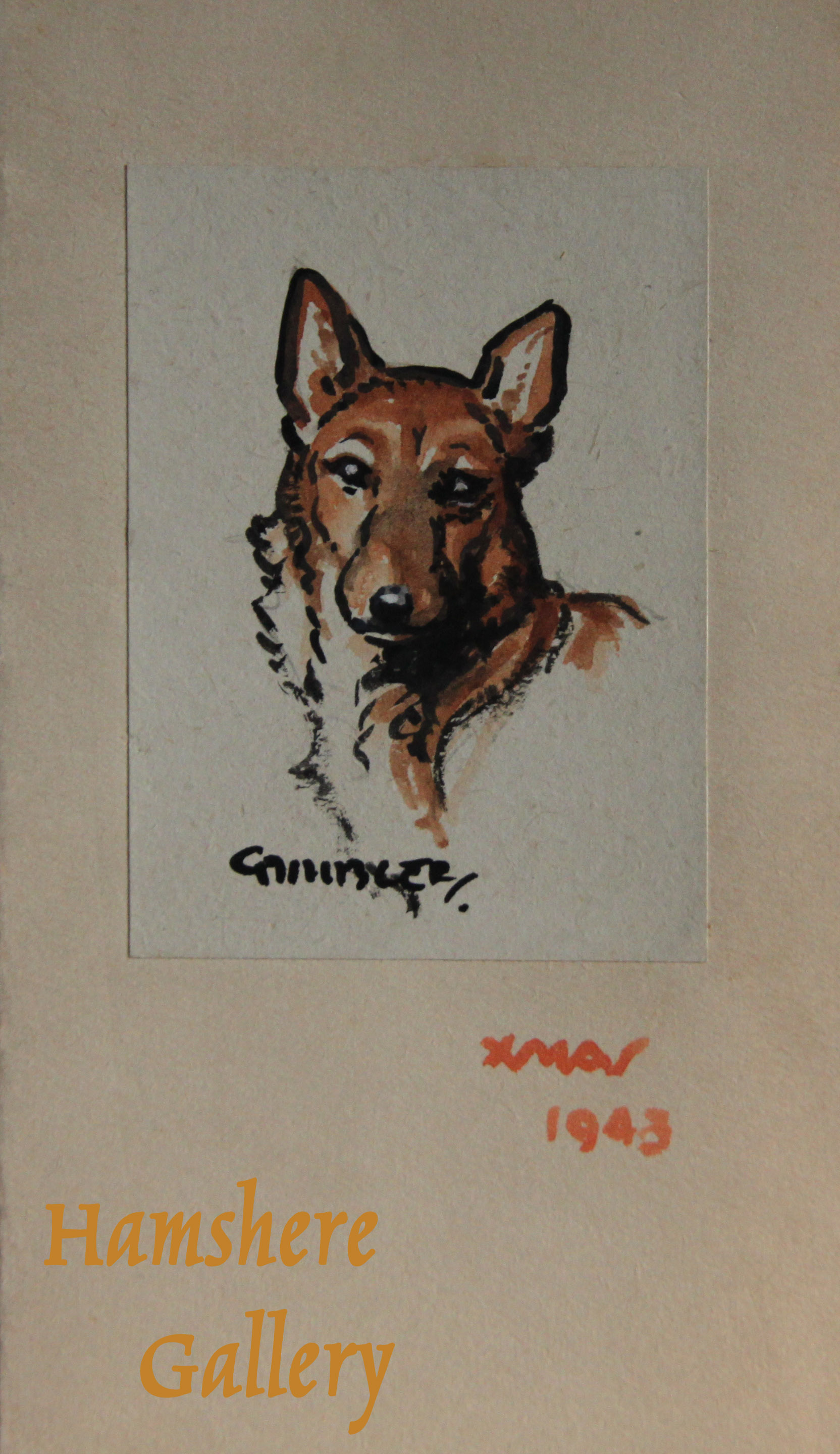 Click to see full size: A miniature watercolour drawing of a German Shepherd by Christopher Gifford Ambler (English, 1886-1965)