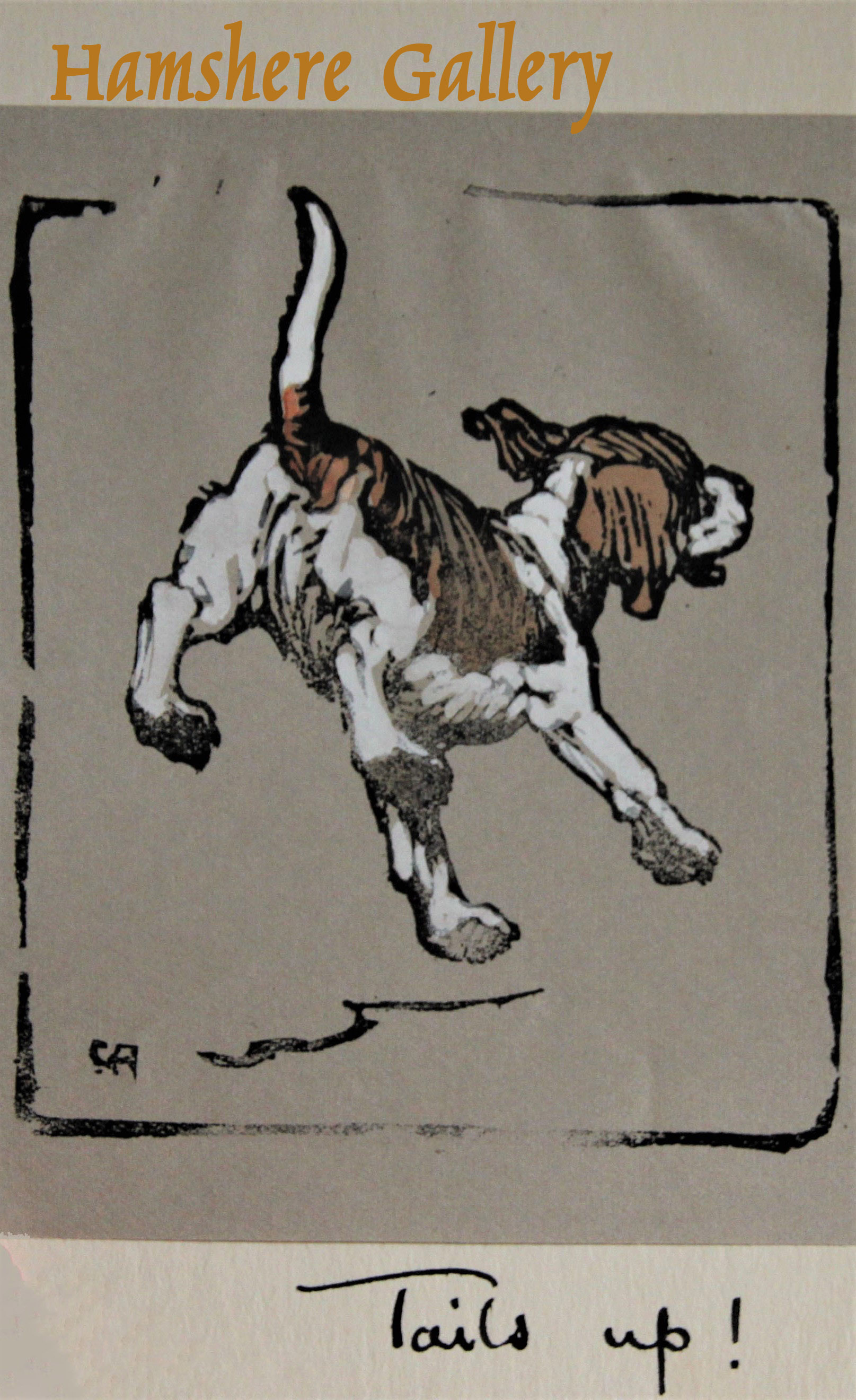 Click to see full size: A woodcut of a running Beagle by Christopher Gifford Ambler (English, 1886-1965)