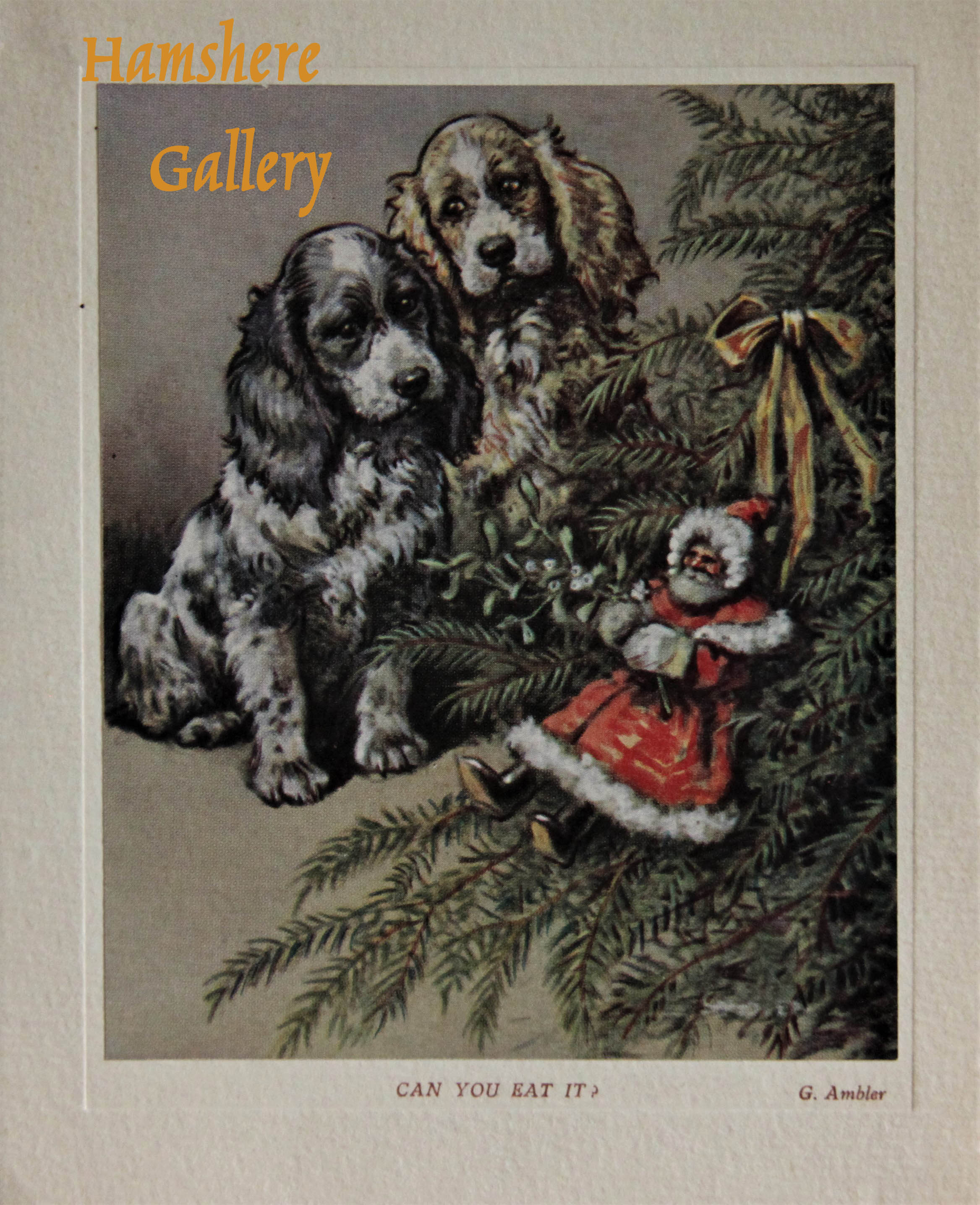 "Click to see full size:    ""Can You Eat It"", a lithograph Christmas card of a pair of Cocker Spaniels design by Christopher Gifford Ambler (English, 1886-1965) for for ""Samuel A. C. Todd"""