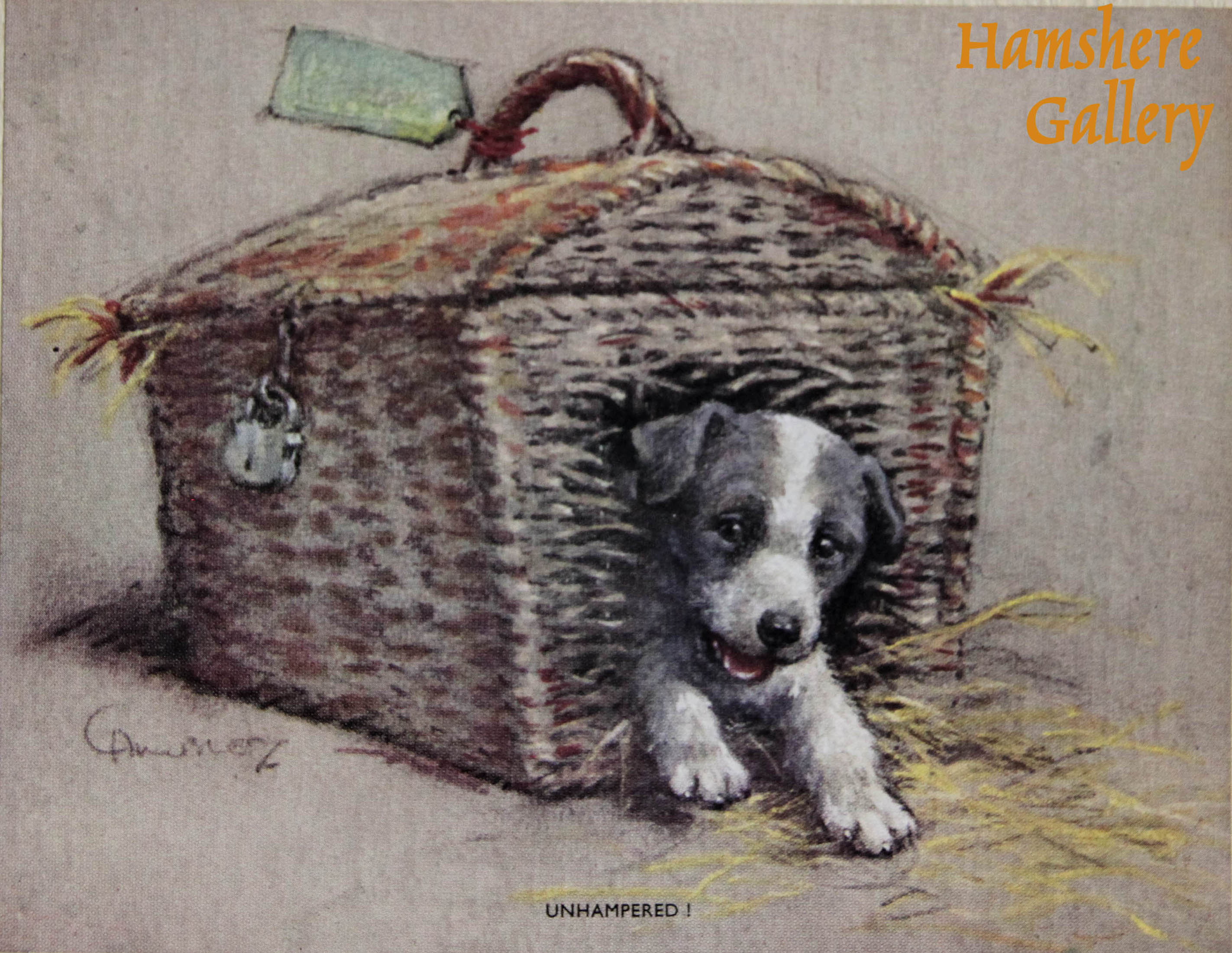 """Click to see full size: """"Unhampered!"""" lithograph card of a puppy emerging from travel basket design by Christopher Gifford Ambler (English, 1886-1965)"""