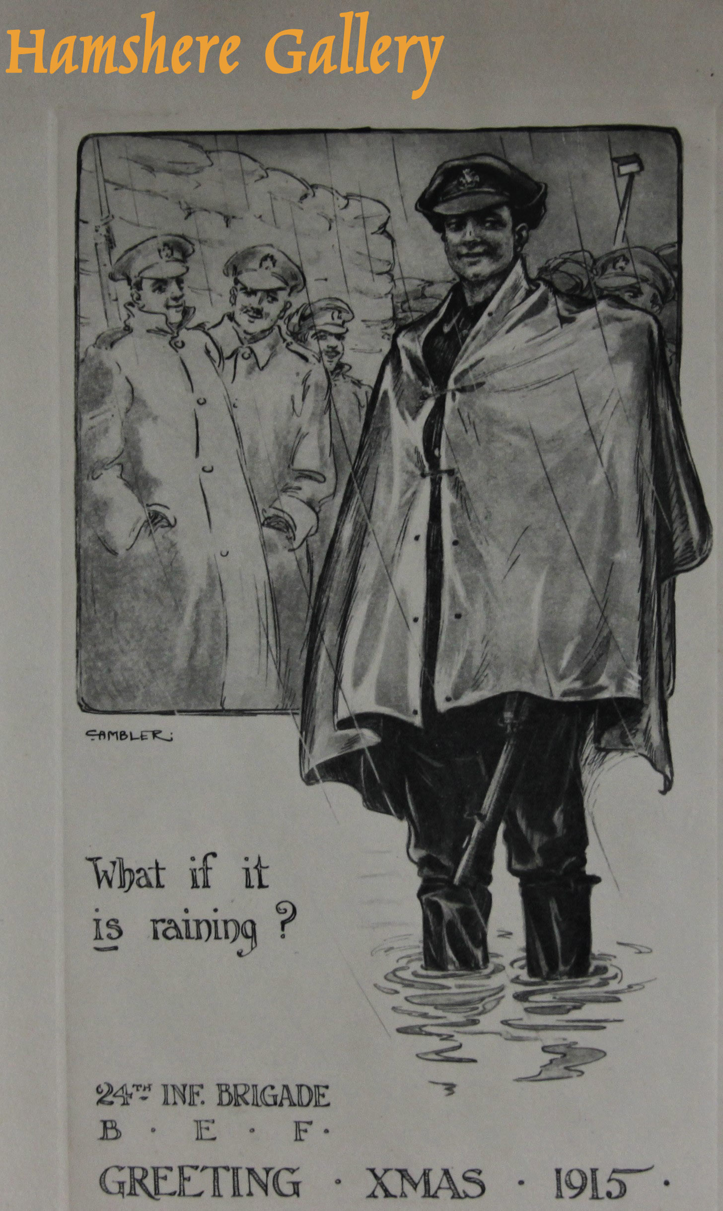 """Click to see full size: """"What if it is raining"""" Christmas card design by Christopher Gifford Ambler (English, 1886-1965)"""