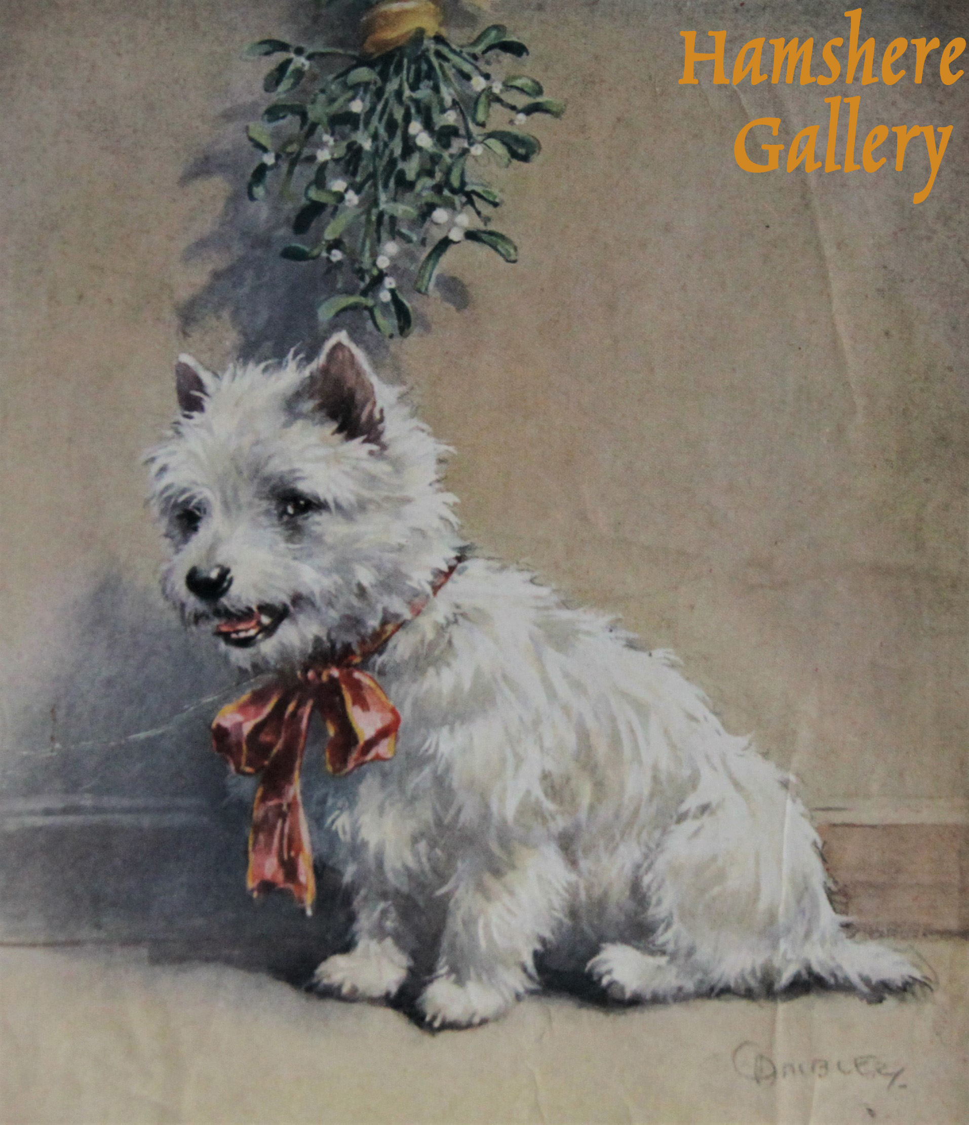 Click to see full size: A West Highland Terrier beneath Mistletoe Christmas Card design by Christopher Gifford Ambler (English, 1886-1965)