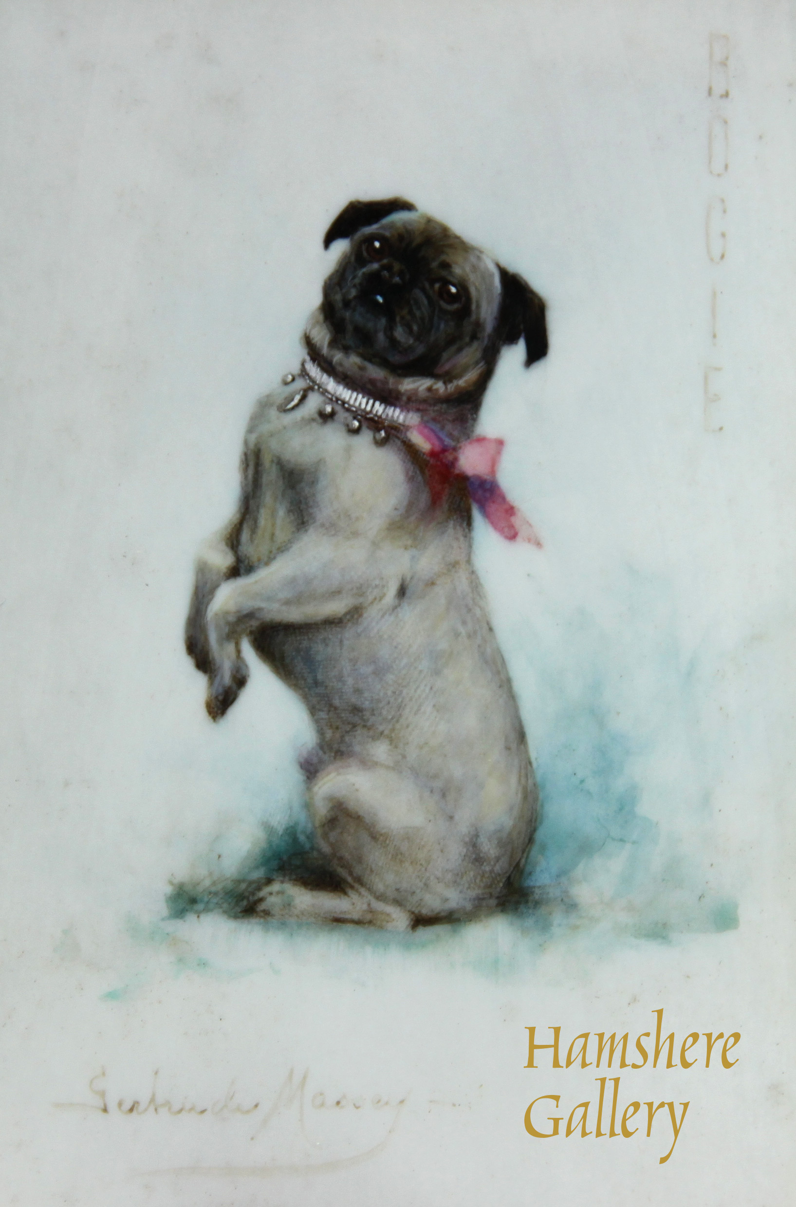 "Click to see full size: Ivory miniature in watercolour of ""Bogie"", Pug by Gertrude Massey"