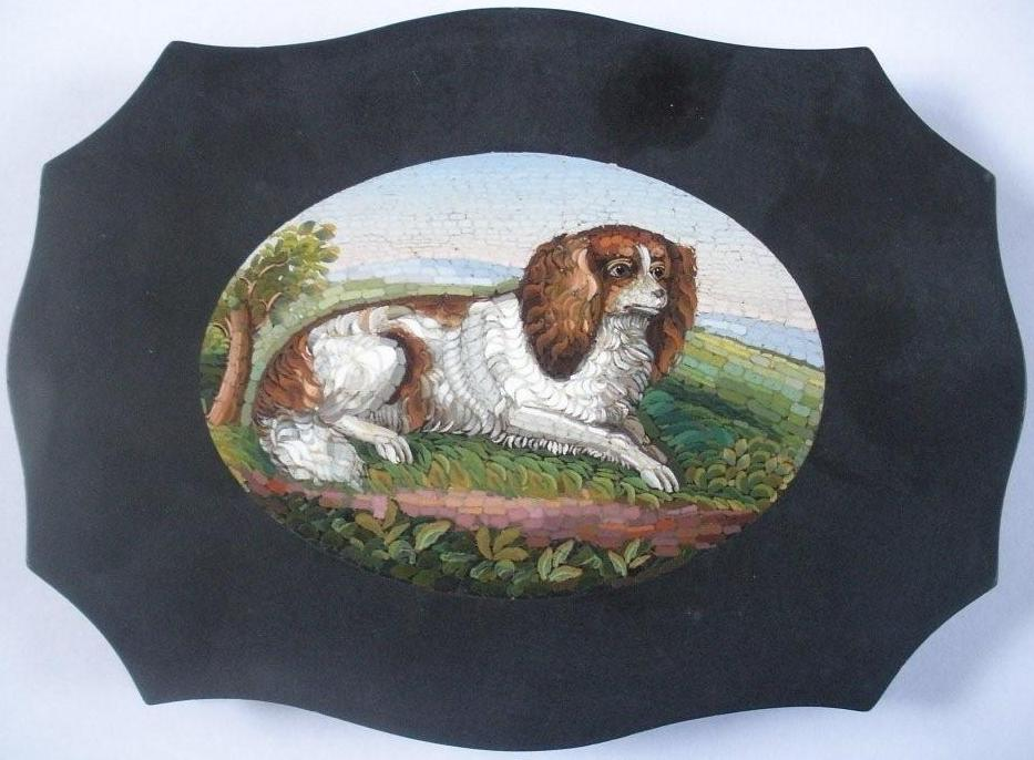 Click to see full size: Micromosaic / Micro-Mosaic / Micro Mosaic of a King Charles Cavalier Spaniel
