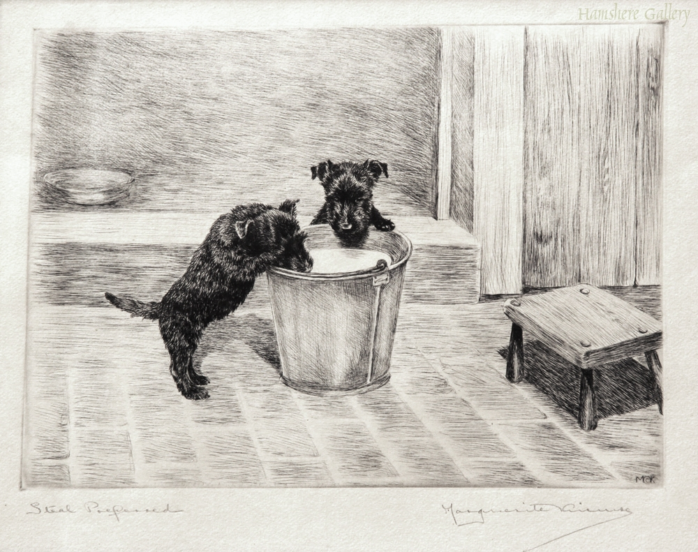 Click to see full size: Scottish Terrier dry-point etching
