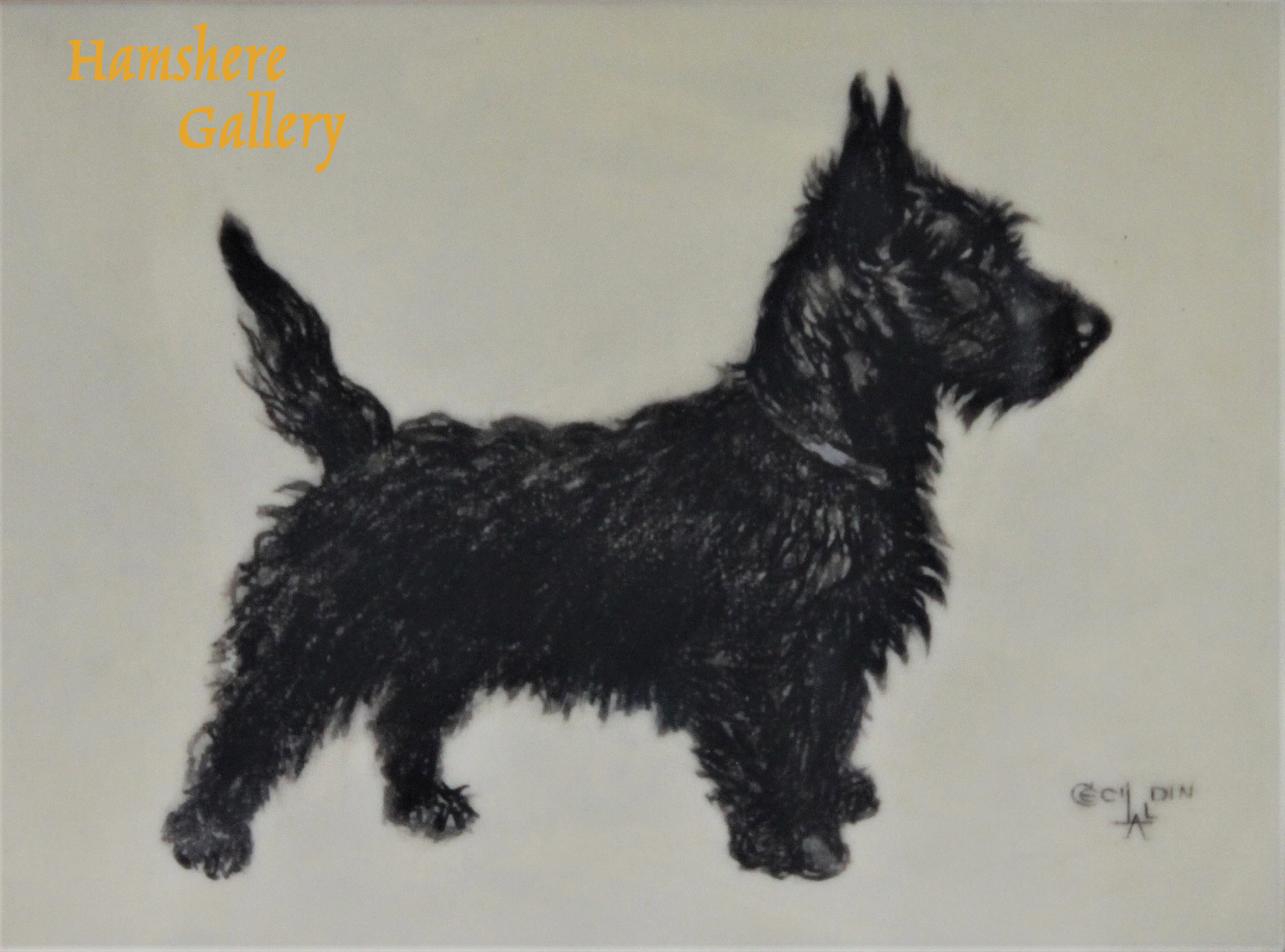 Click to see full size: Ivorine miniature of a Scottish Terrier, by Cecil Charles Windsor Aldin RBA (English, 1870-1935)