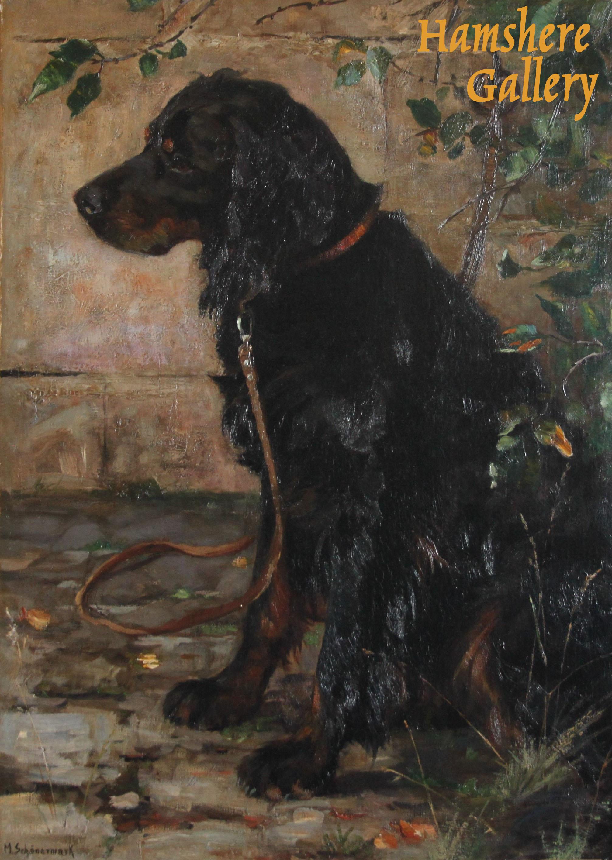Click to see full size: A Gordon Setter oil by Margarethe Schönermark (Wolfenbüttel 1873 - 1951 Remagen)