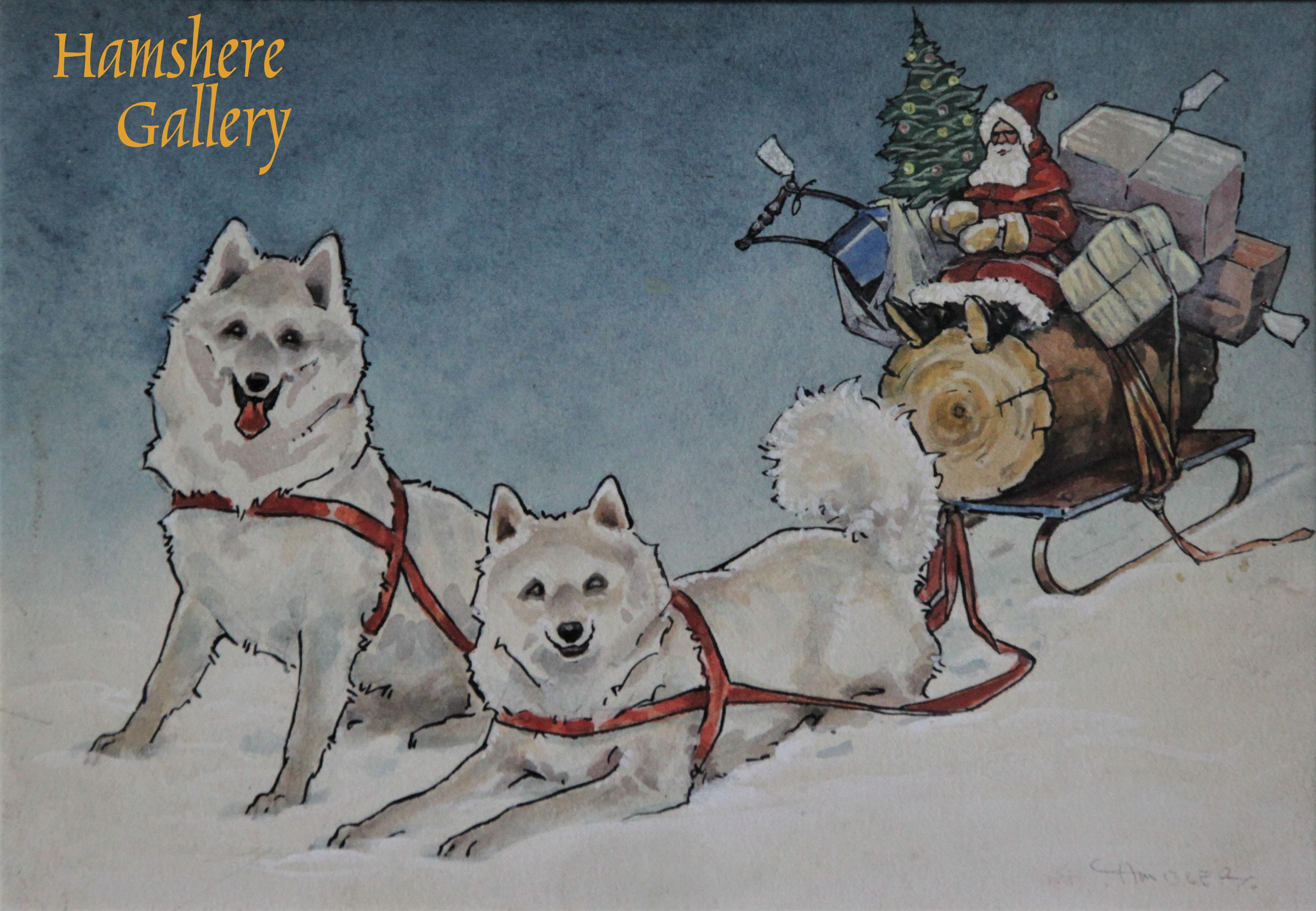 Click to see full size: Pen, ink & watercolour on paper of Samoyed / Bjelkier / Samoiedskaya Sobaka / Nenetskaya Laika dogs pulling Santa's sleigh by Christopher Gifford Ambler (English, 1886-1965)