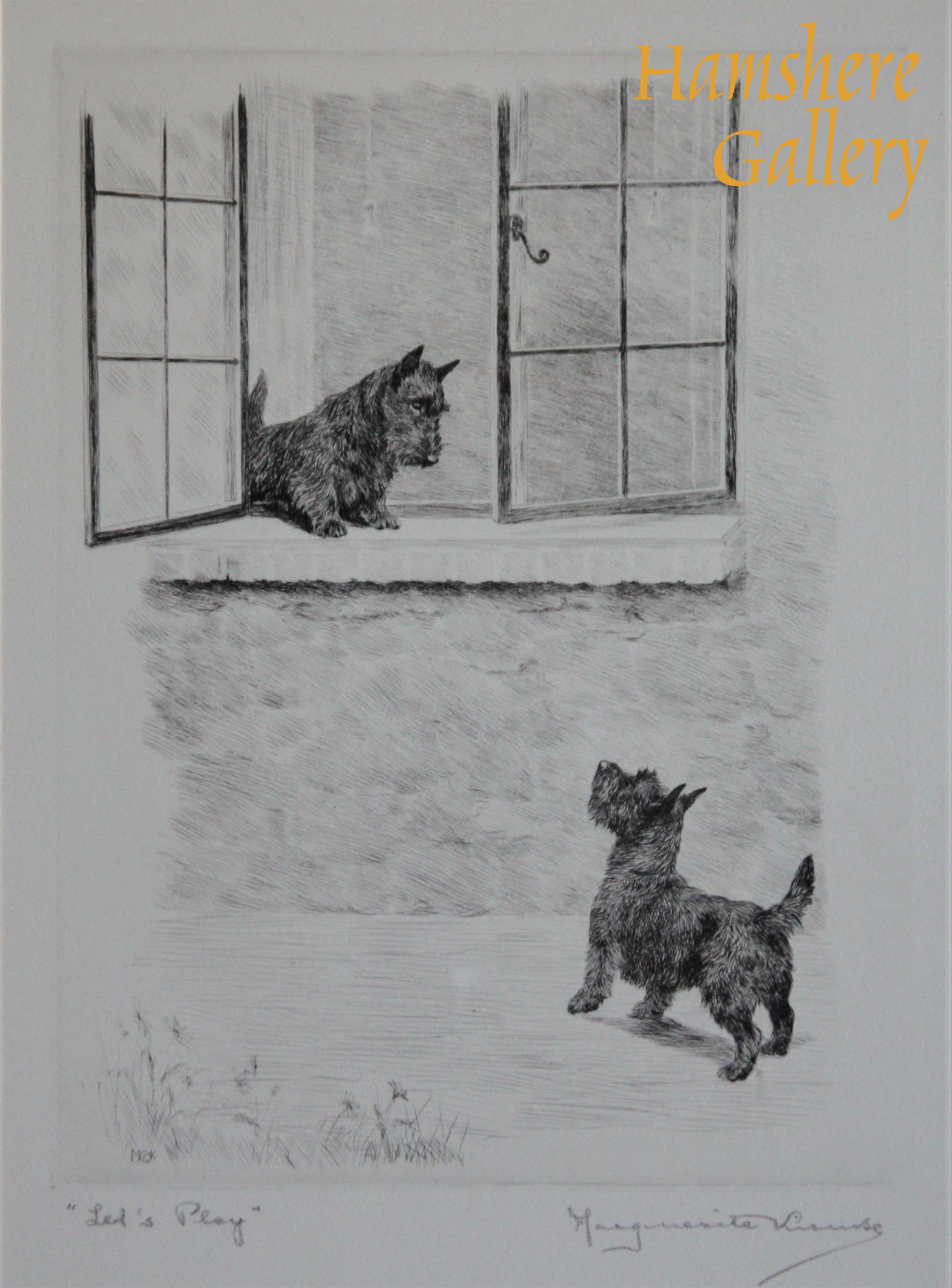 Click to see full size: Scottish Terrier dry-point etching - Scottish Terrier dry-point etching