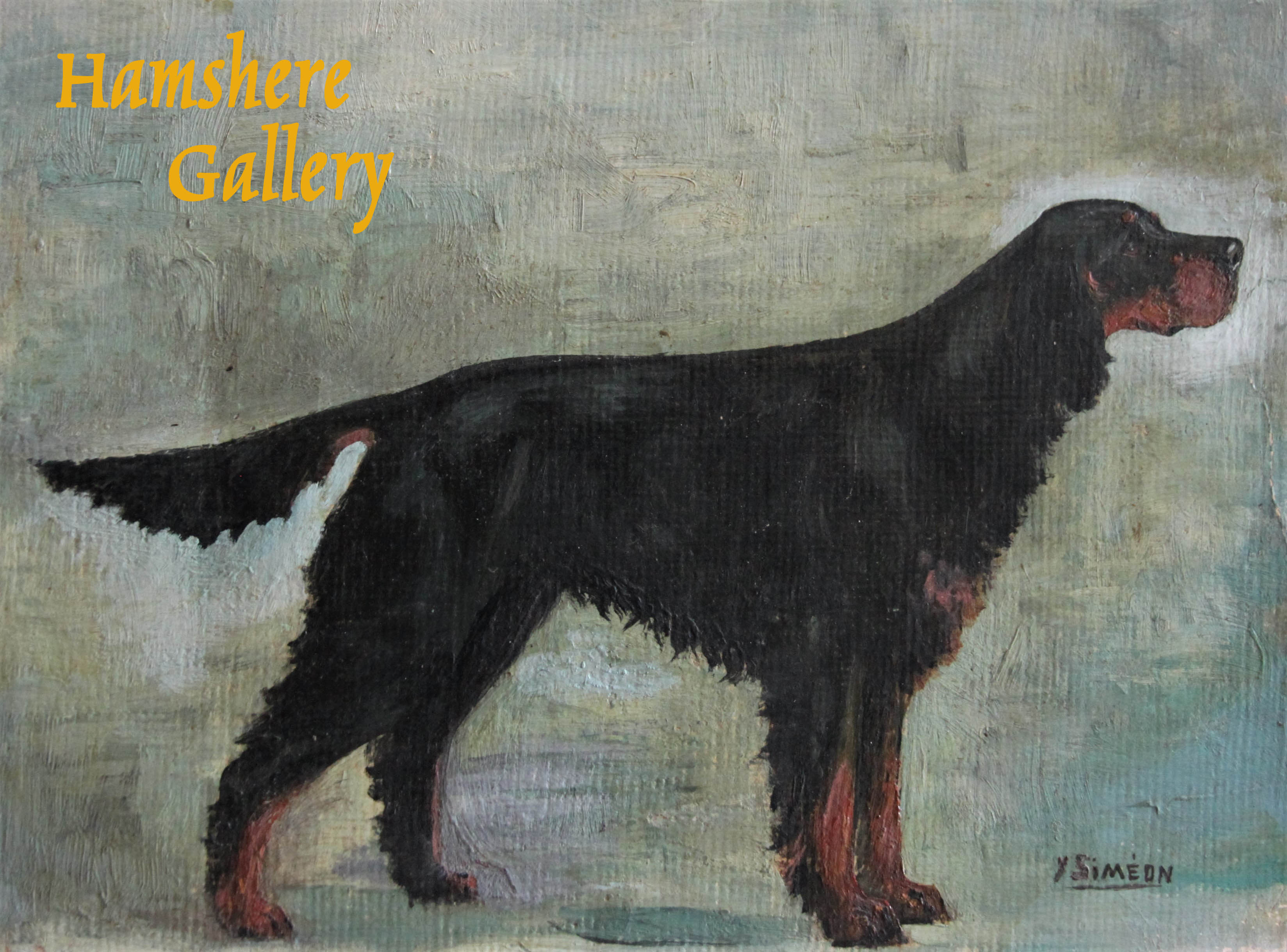 Click to see full size: An oil of a Gordon Setter by Yvonne Siméon Lavallart