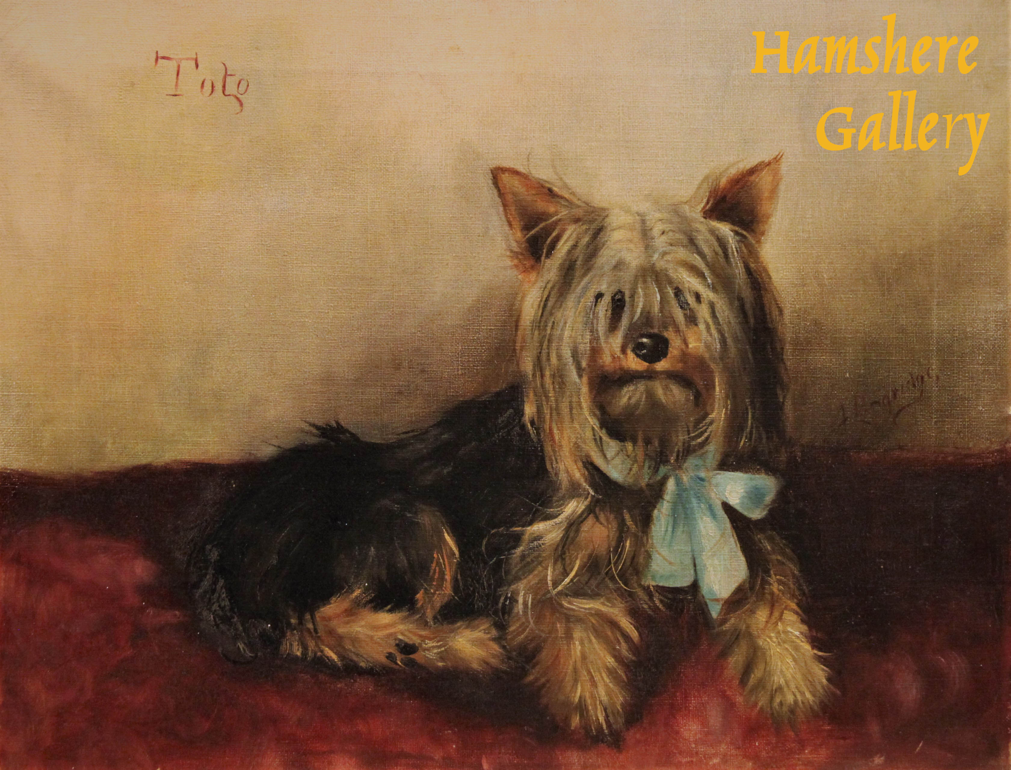 "Click to see full size: The Yorkshire Terrier ""Toto"" oil by Miss F Langridge (English, Exh. 1901)"