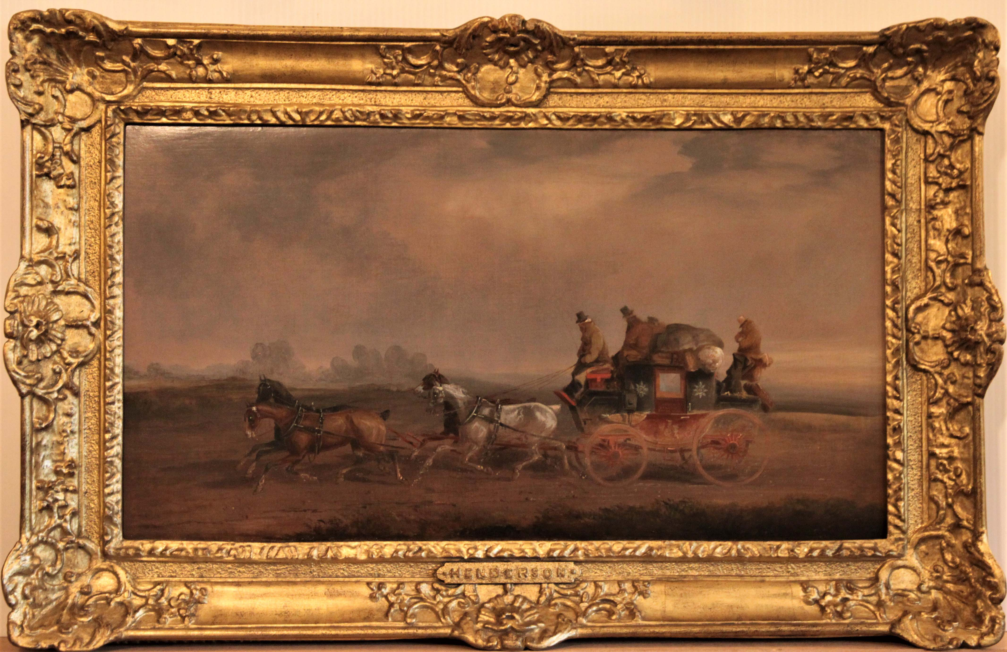 Click for larger image: Mid 19th century English Louth-London Royal Mail coaching oil by Charles Cooper Henderson (English, 1803-1877) - Mid 19th century English Louth-London Royal Mail coaching oil by Charles Cooper Henderson (English, 1803-1877)