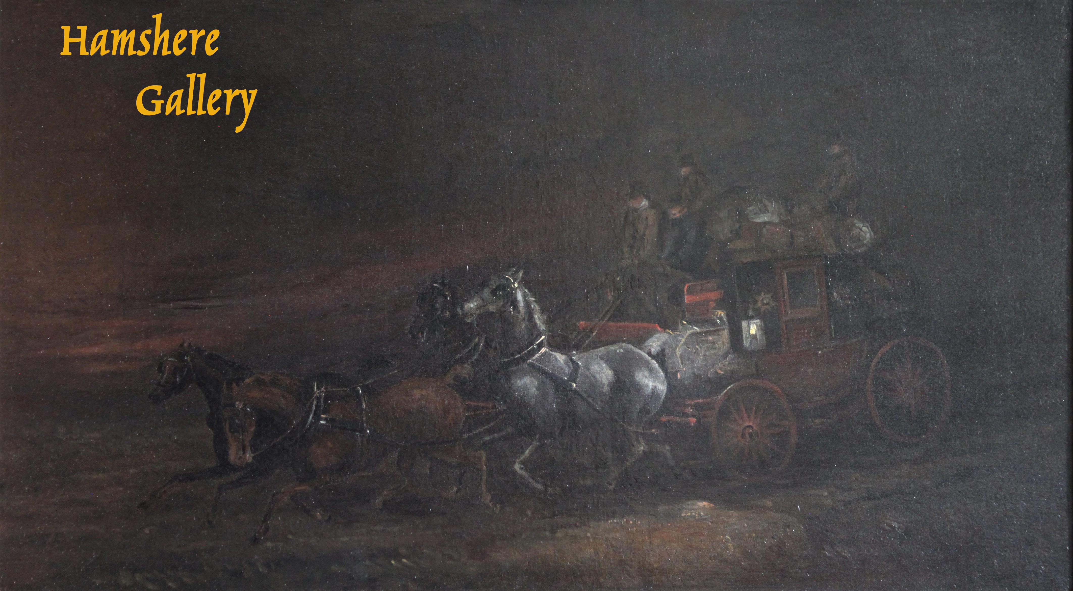 Click to see full size: Mid 19th century night scene of a Royal Mail carriage / coaching / four-in- hand oil by Charles Cooper Henderson (English, 1803-1877)- Mid 19th century night scene of a Royal Mail carriage / coaching / four-in- hand oil by Charles Cooper Henderson (English, 1803-1877)
