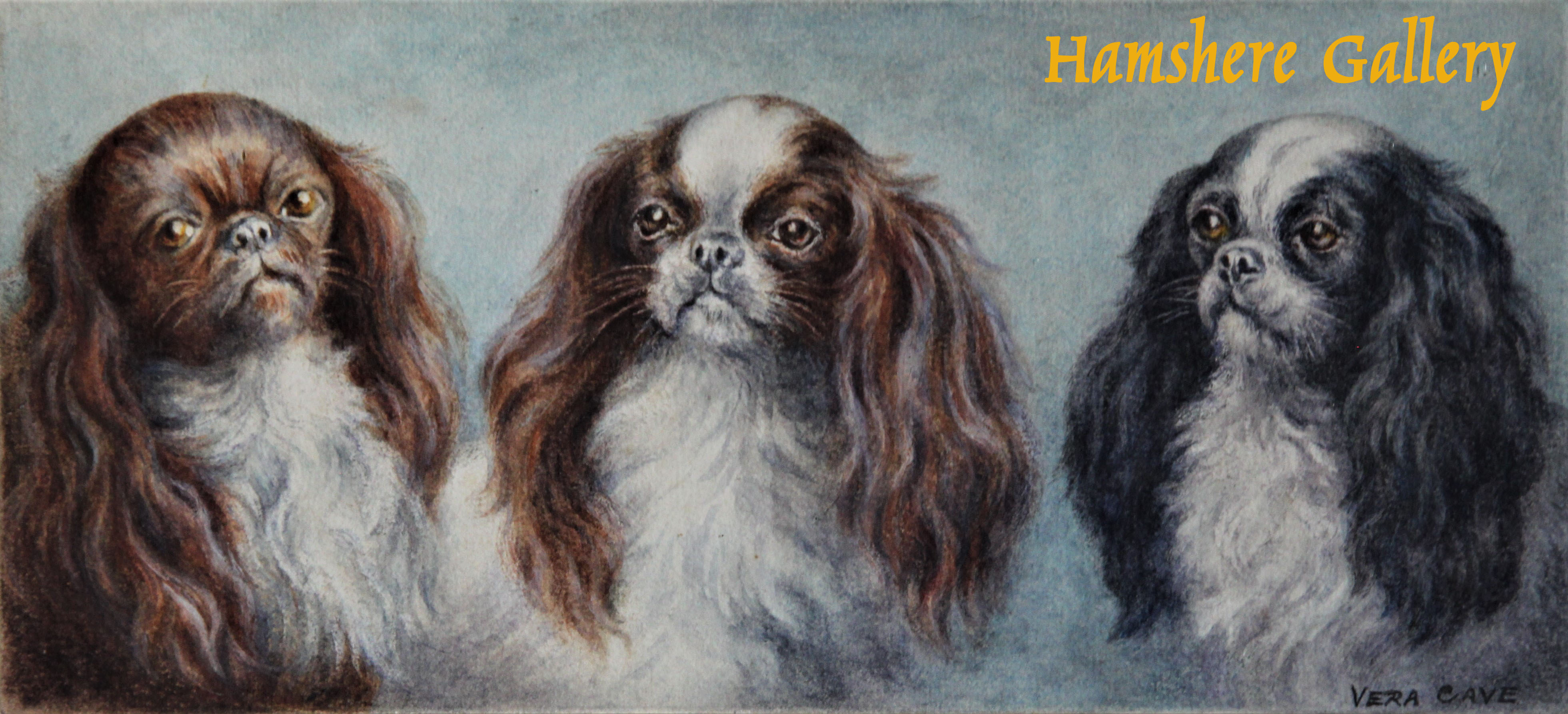 Click to see full size: King Charles Spaniel watercolour by Vera Cave (English, fl 1930) after Carl Reichert (Austria, 1836-1918)