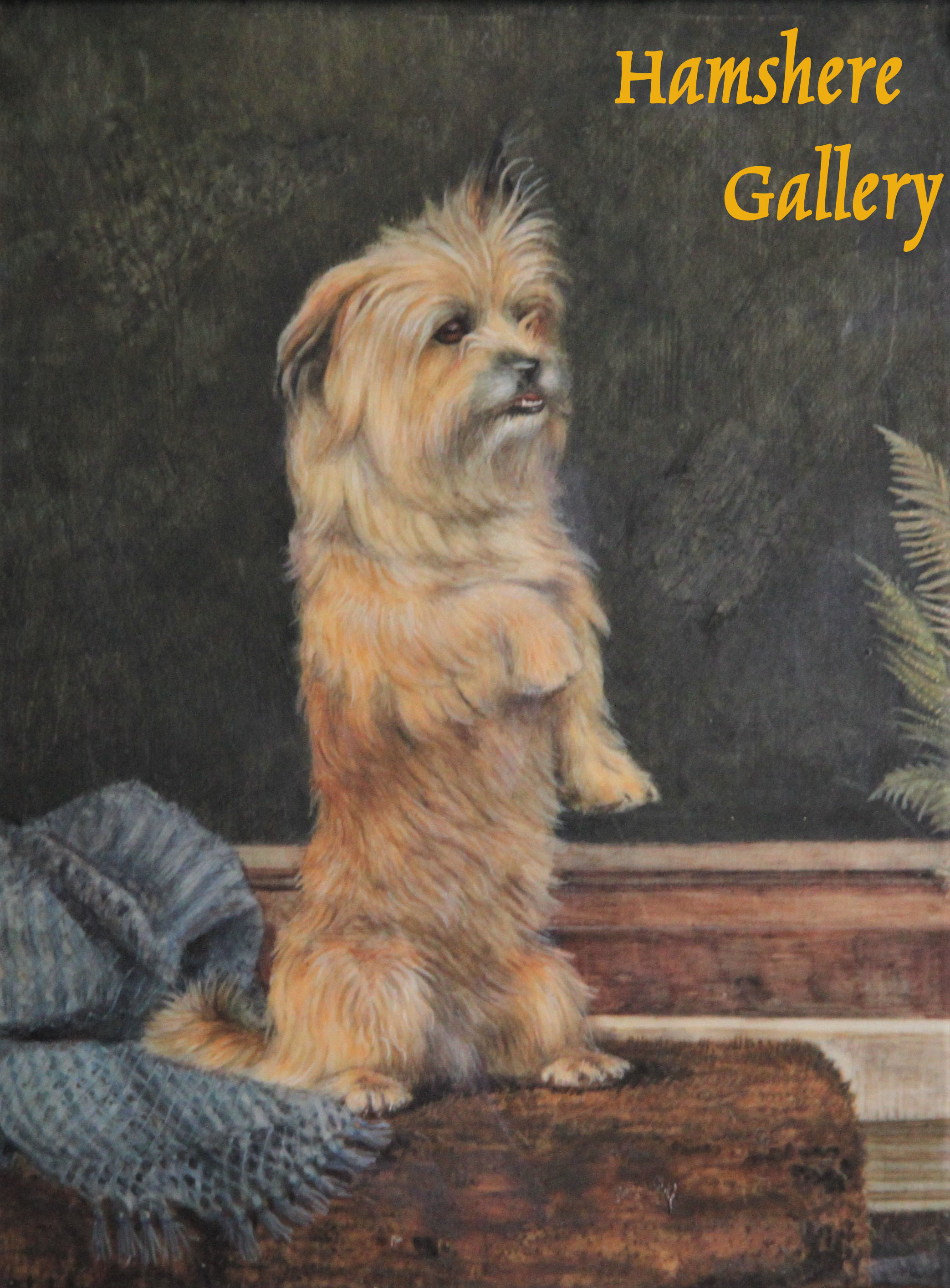 "Click to see full size: Circa 1900, miniature on ivory of a Norfolk Terrier by ""NH"""