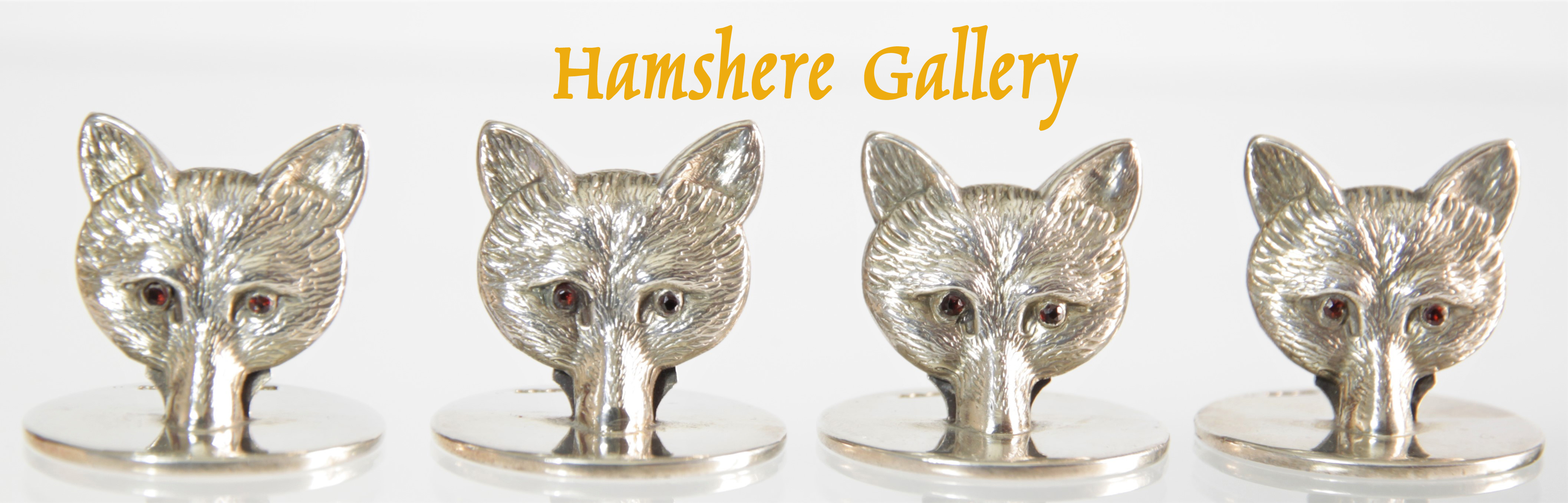 Click to see full size: Sampson & Mordan set of George V silver fox menu / place settings/ card holders.