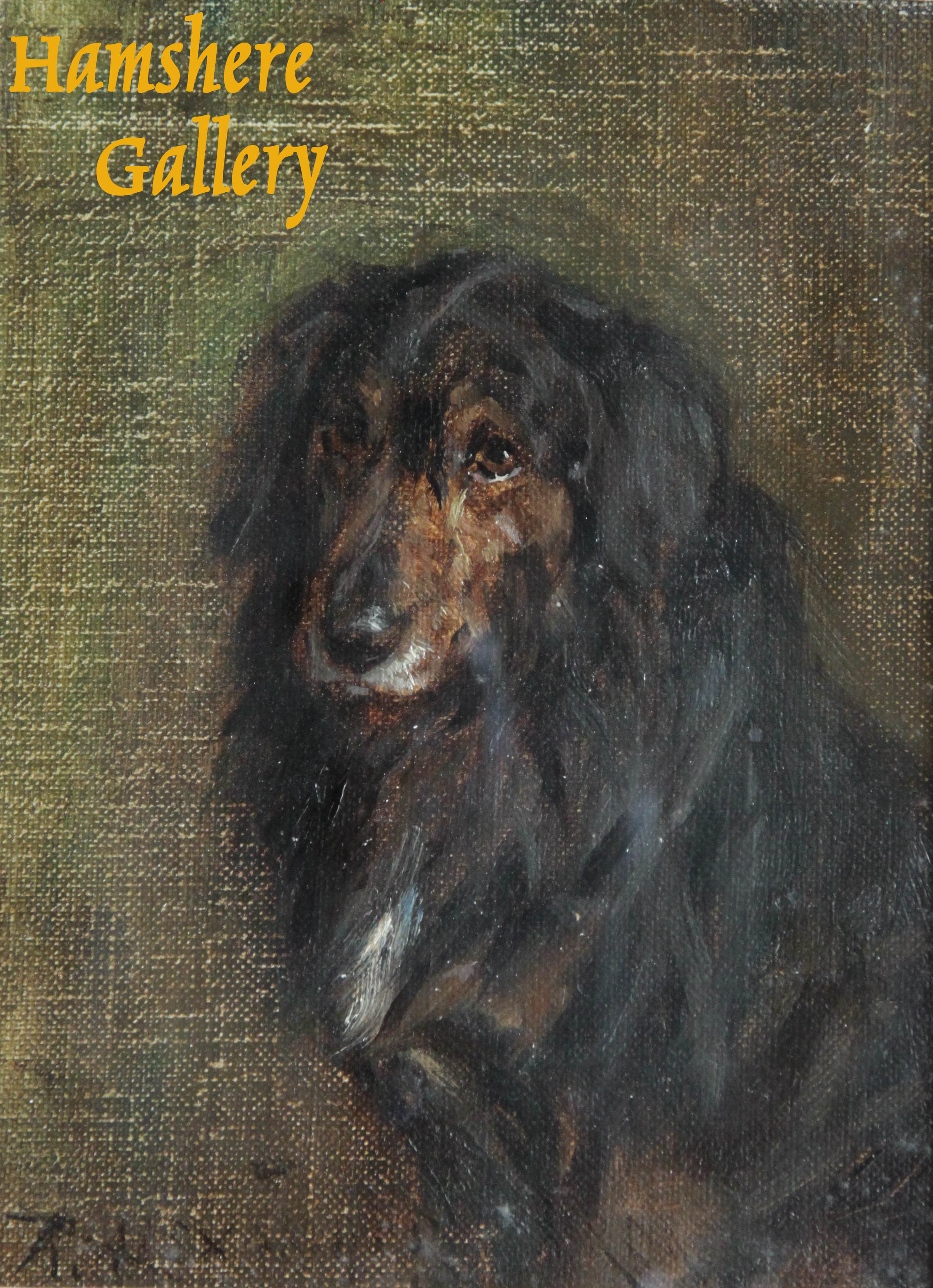 Click to see full size: Oil on canvas of a Gordon Setter  by Robert Alexander, R.S.A, R.S.W.