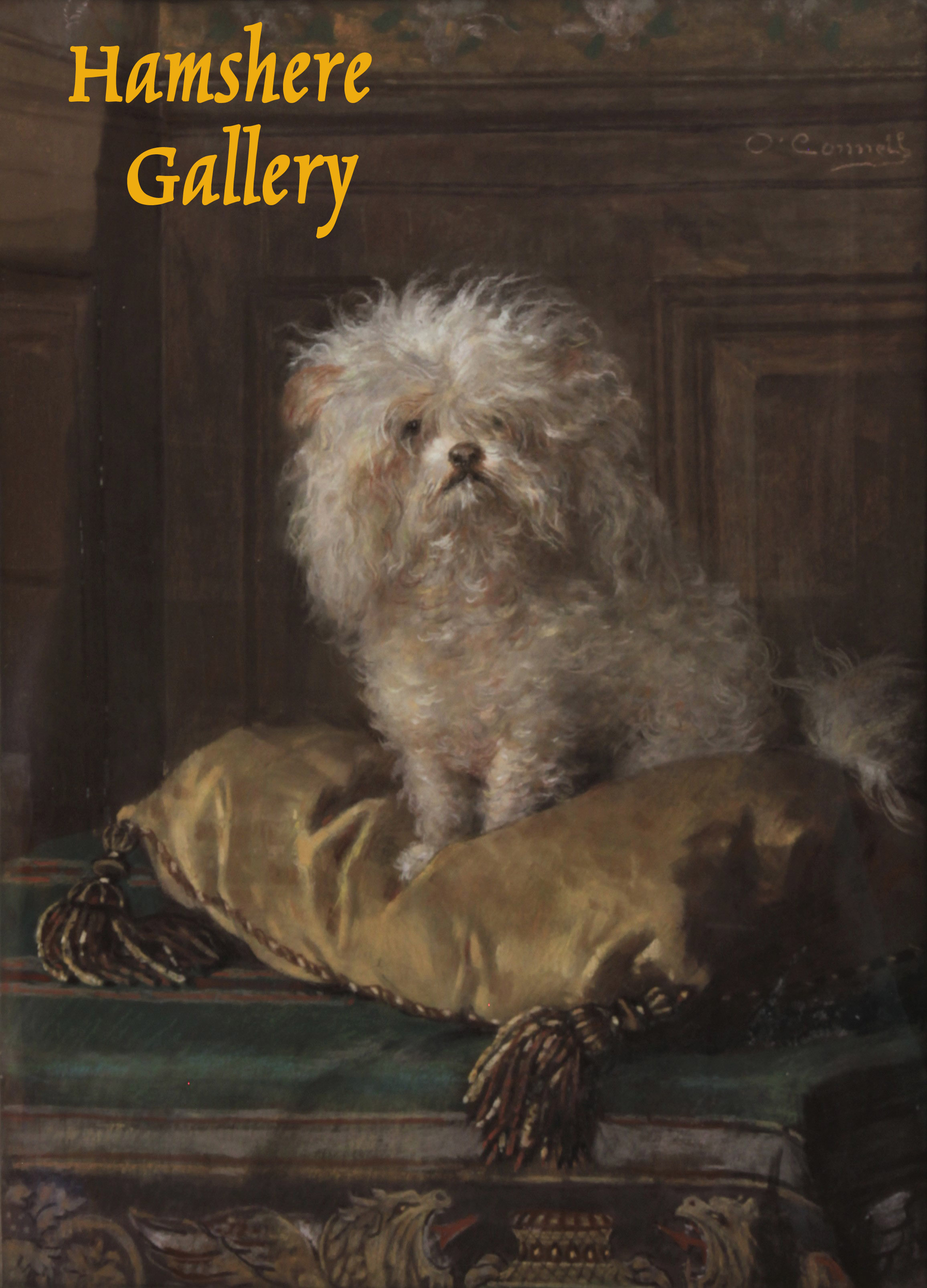 Click to see full size: A Poodle / Bichon pastel by Frederique Emilie OConnell (German, 1823 – 1885)
