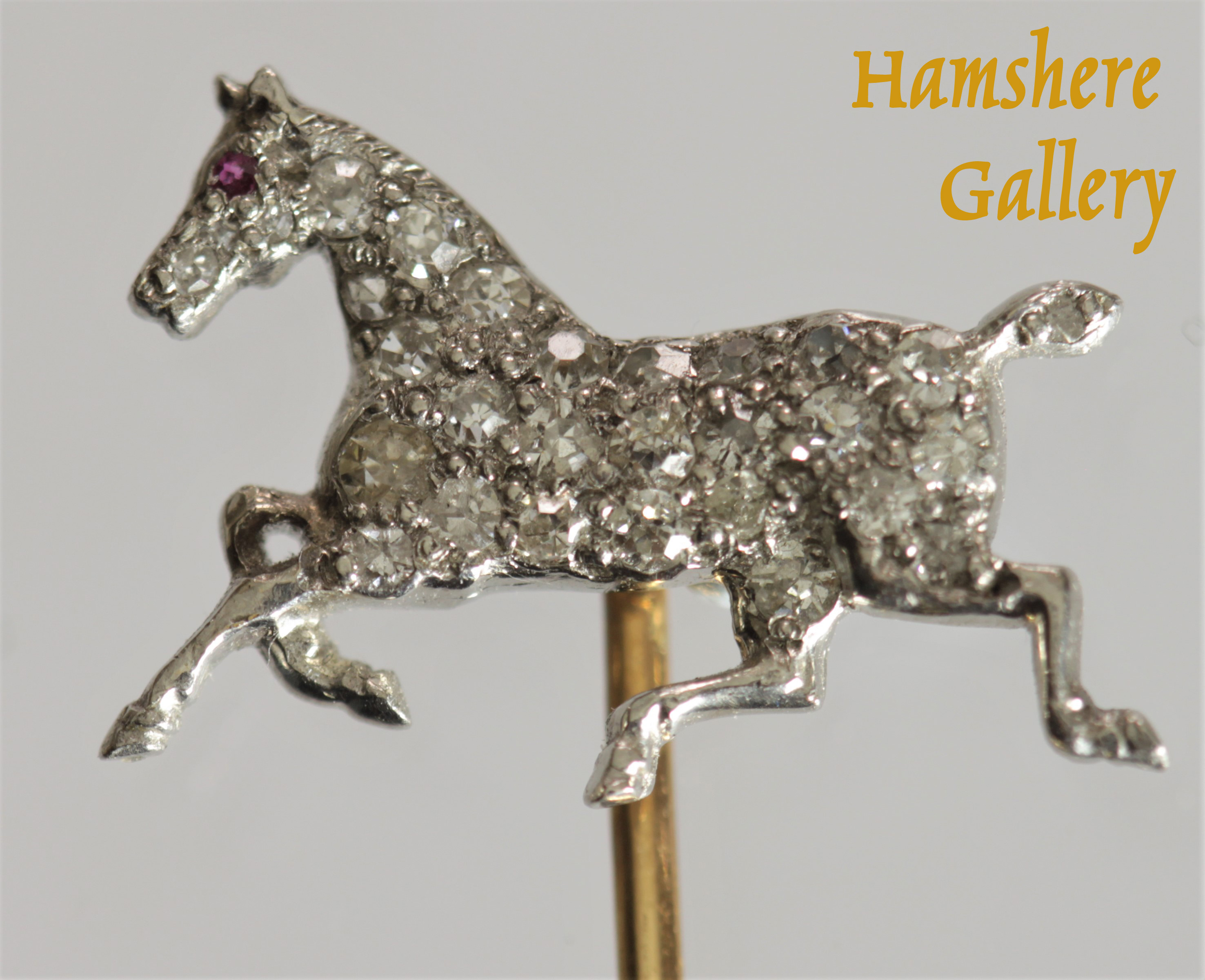 Click to see full size: A very fine diamond platinum set horse by Gustave Manz (German / American 1865-1946)