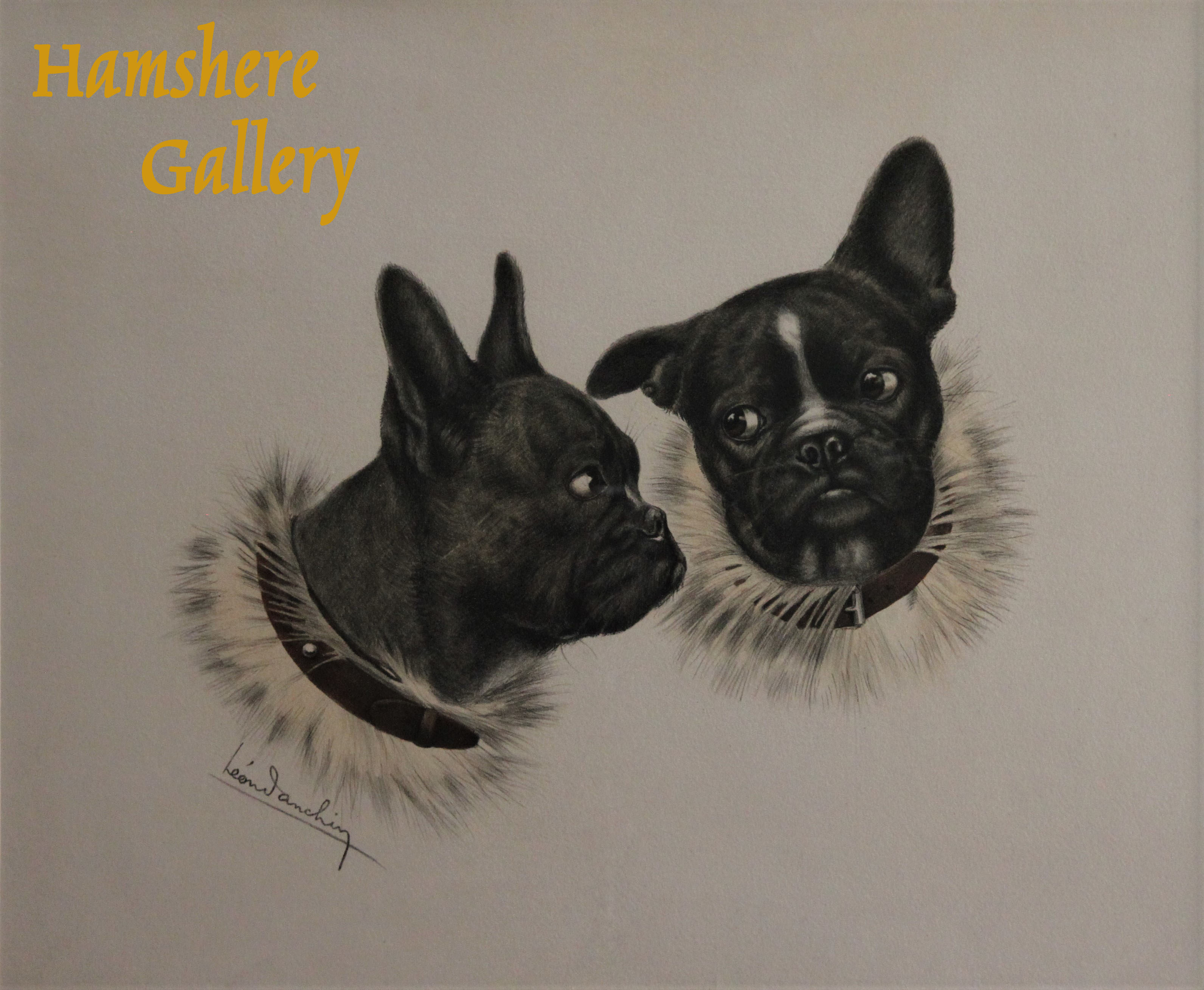 Click to see full size: French Bulldog etching by Leon Danchin (French, 1887-1939)- French Bulldog etching by Leon Danchin (French, 1887-1939)<br />