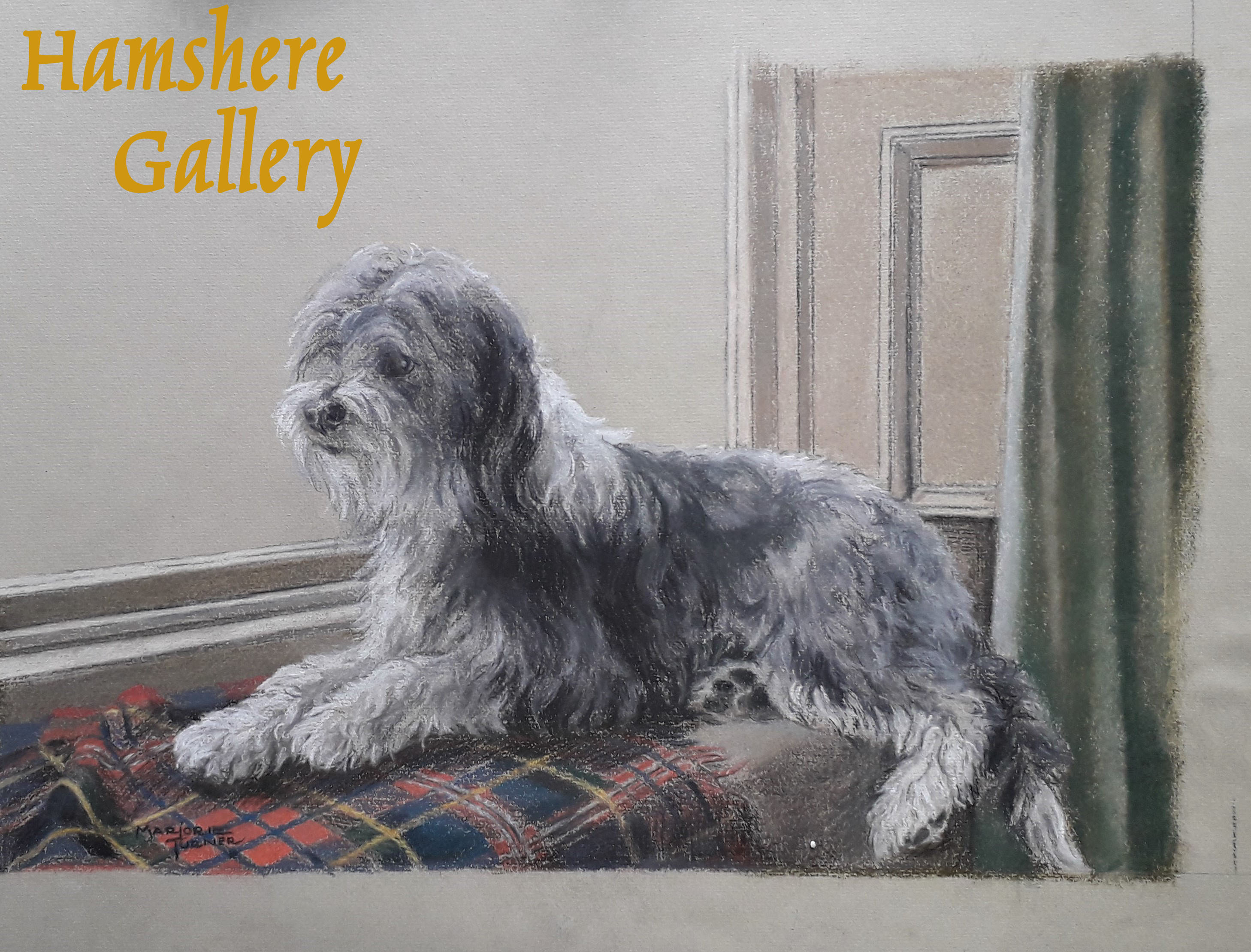 Click to see full size: Pastel on paper of a Bearded Collie by Marjorie Turner (English, early 20th century)